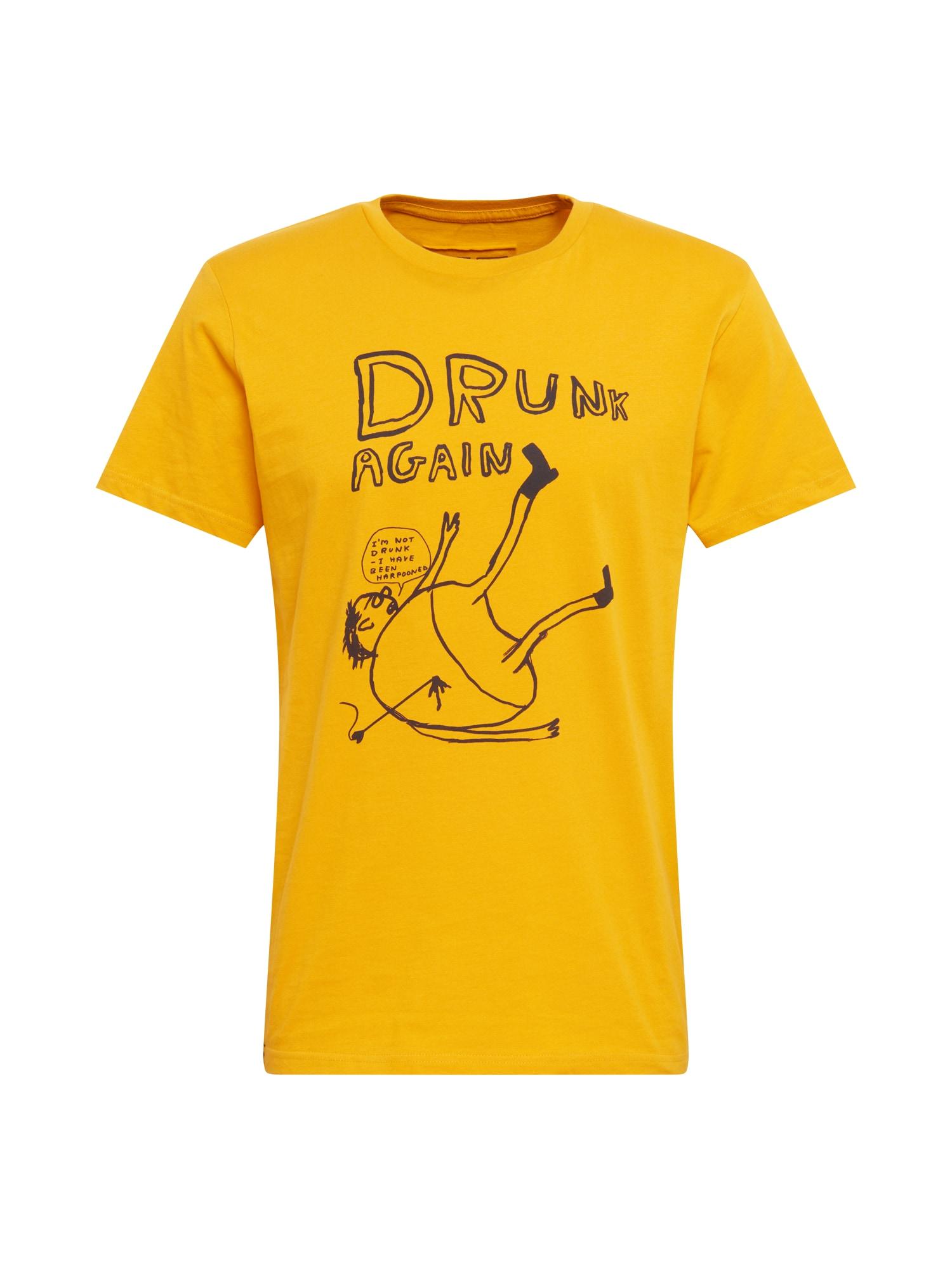 DEDICATED. Marškinėliai 'Stockholm Drunk' geltona / juoda
