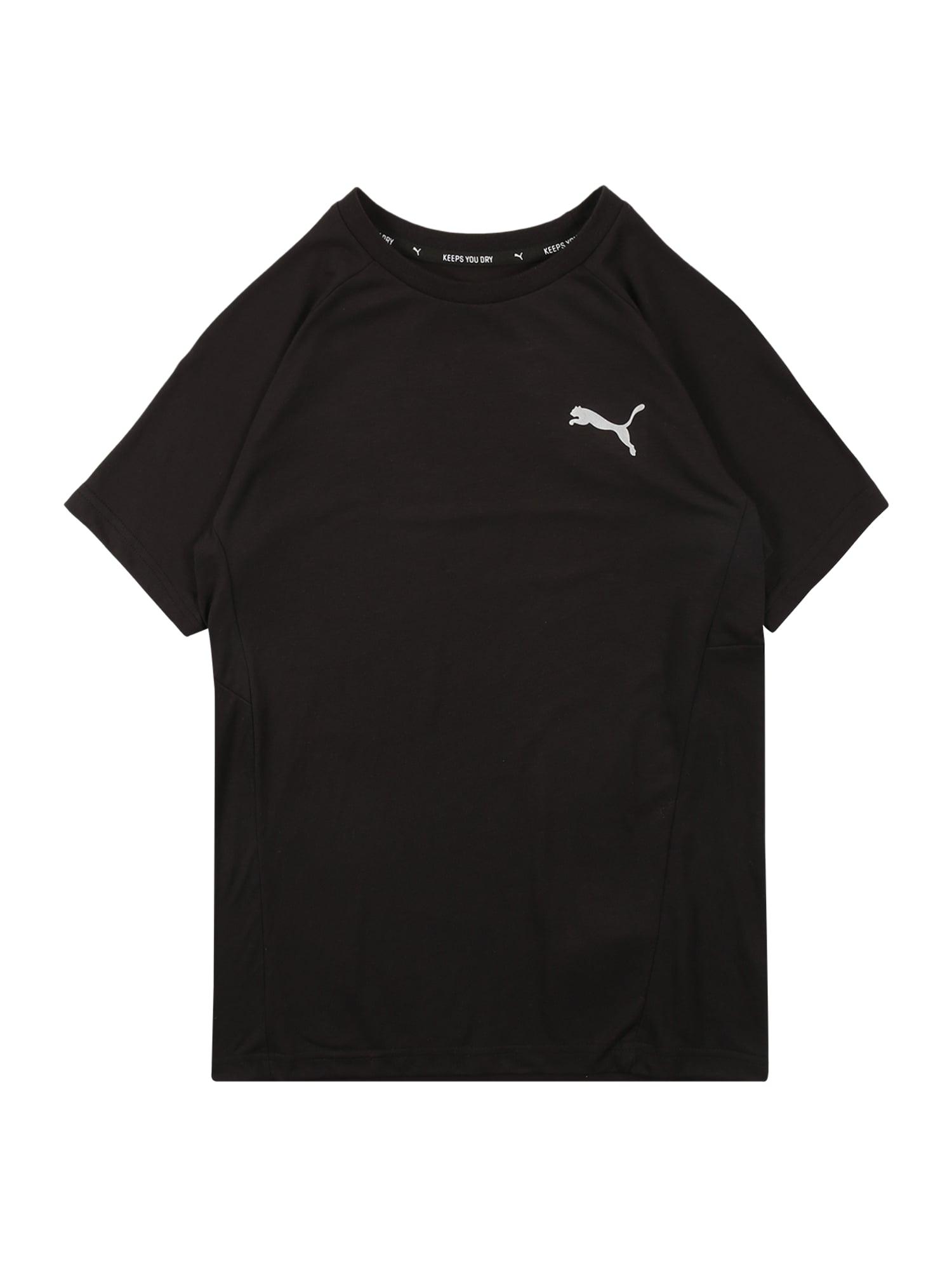 PUMA Sportiniai marškinėliai 'Evostripe' juoda / balta