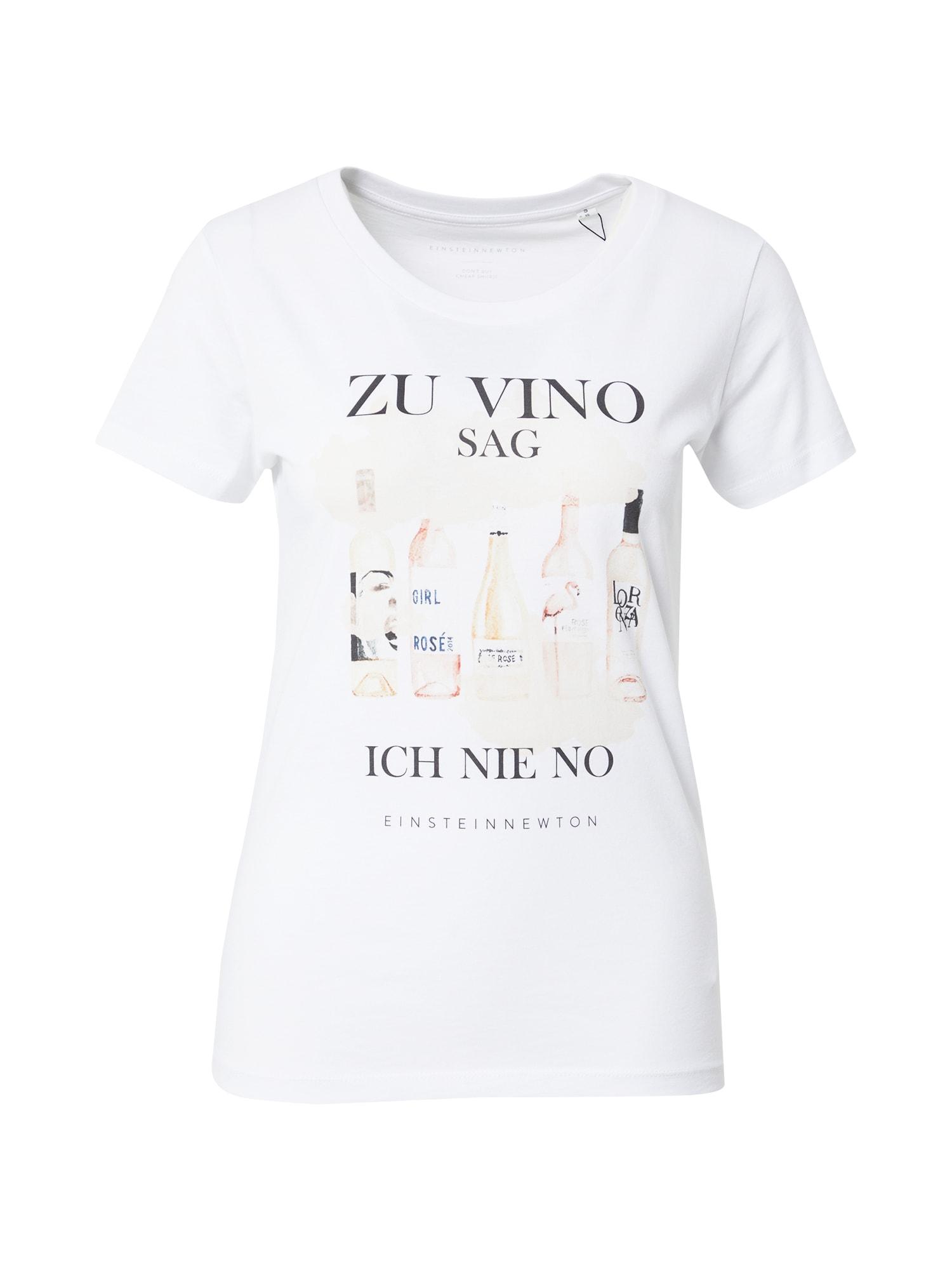 EINSTEIN & NEWTON Marškinėliai balta / juoda / šviesiai ruda / tamsiai mėlyna