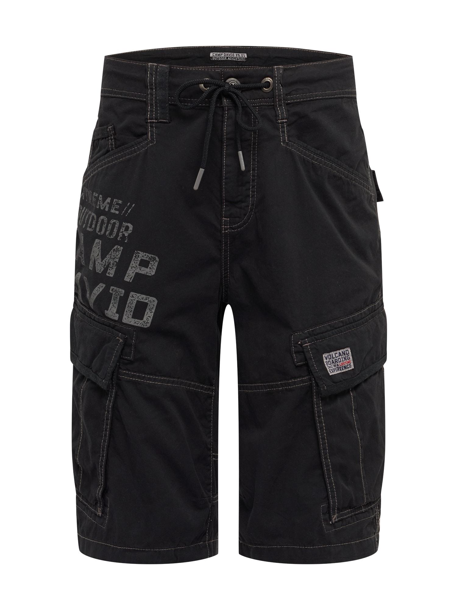 CAMP DAVID Laisvo stiliaus kelnės juoda
