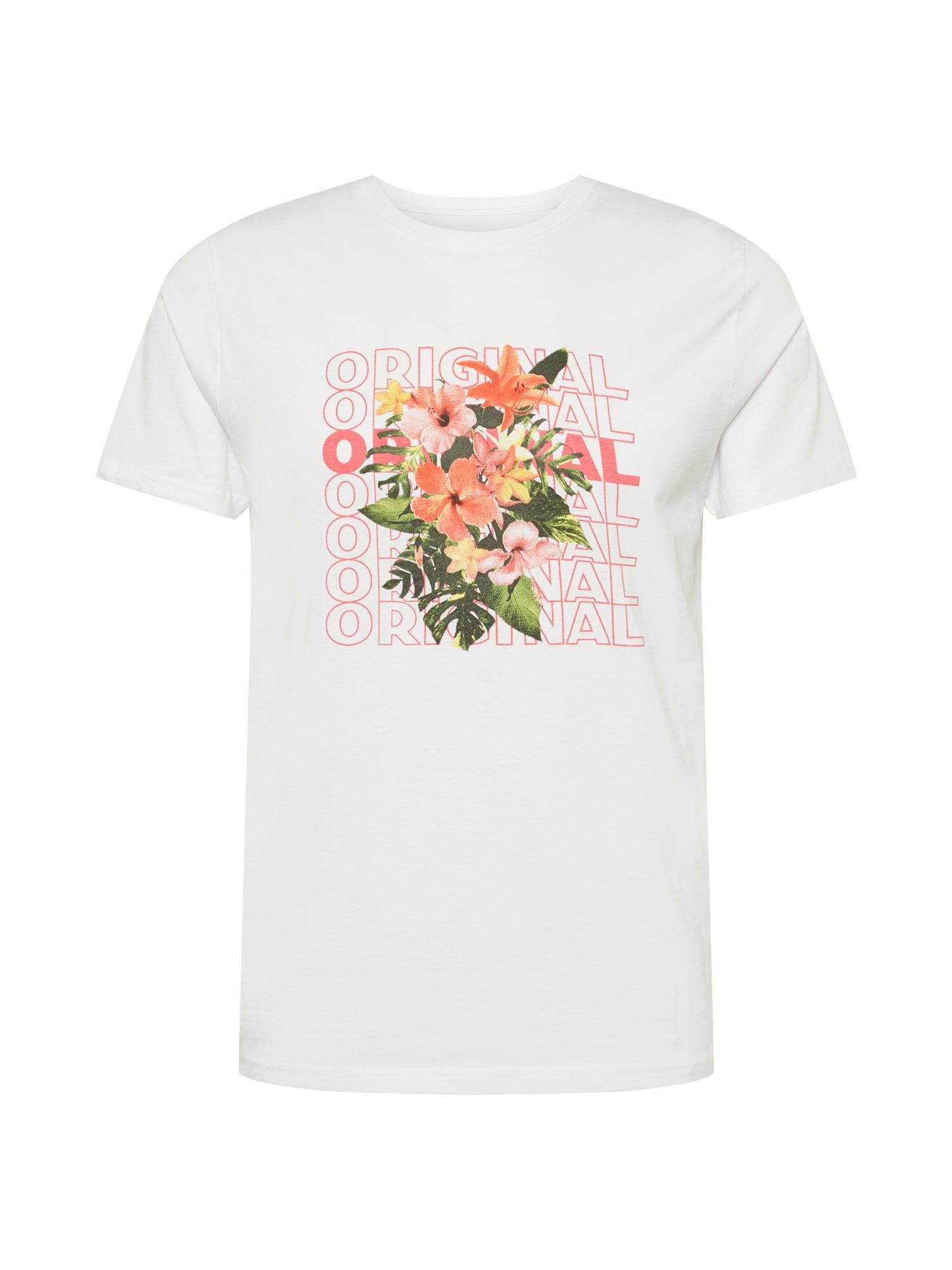 SHINE ORIGINAL Marškinėliai balta / žalia / ryškiai rožinė spalva