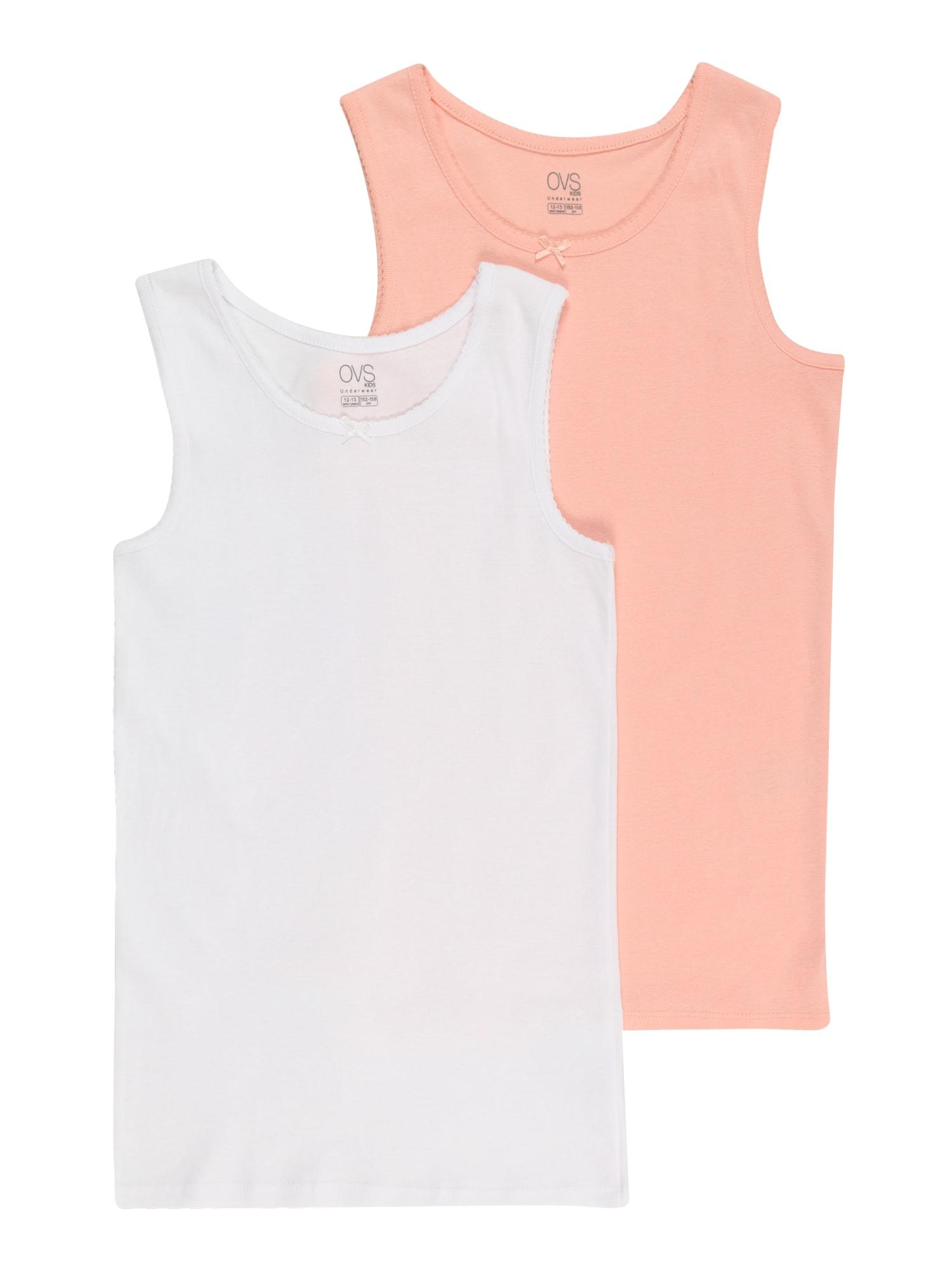 OVS Apatiniai marškinėliai balta / pastelinė oranžinė