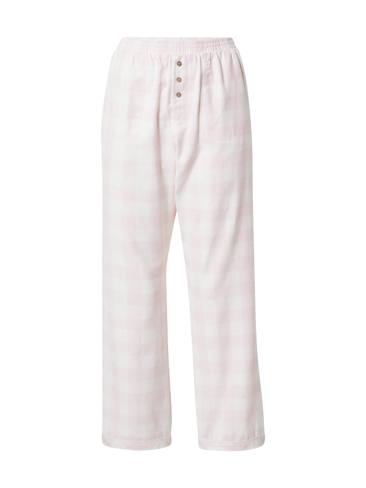Cotton On Body Pižaminės kelnės pastelinė rožinė / balta
