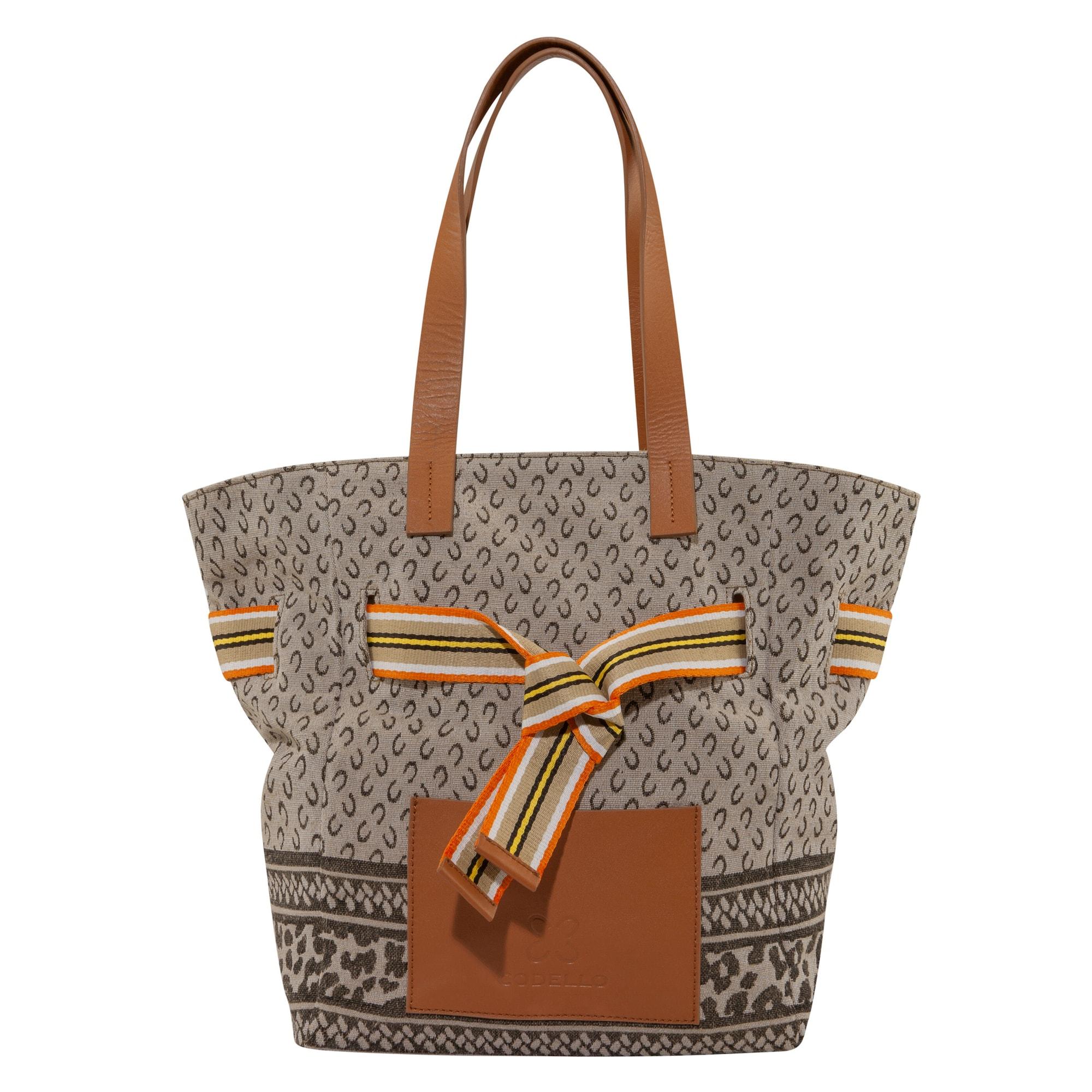 CODELLO Pirkinių krepšys smėlio spalva / juoda / ruda