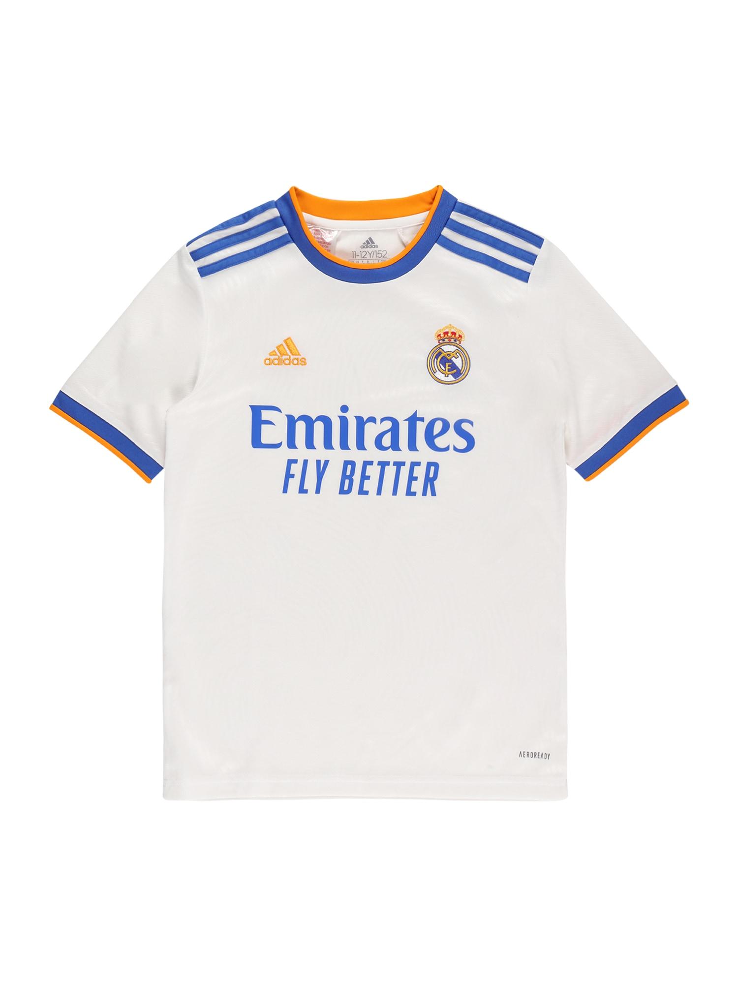 """ADIDAS PERFORMANCE Sportiniai marškinėliai 'Real Madrid' balta / sodri mėlyna (""""karališka"""") / geltona"""