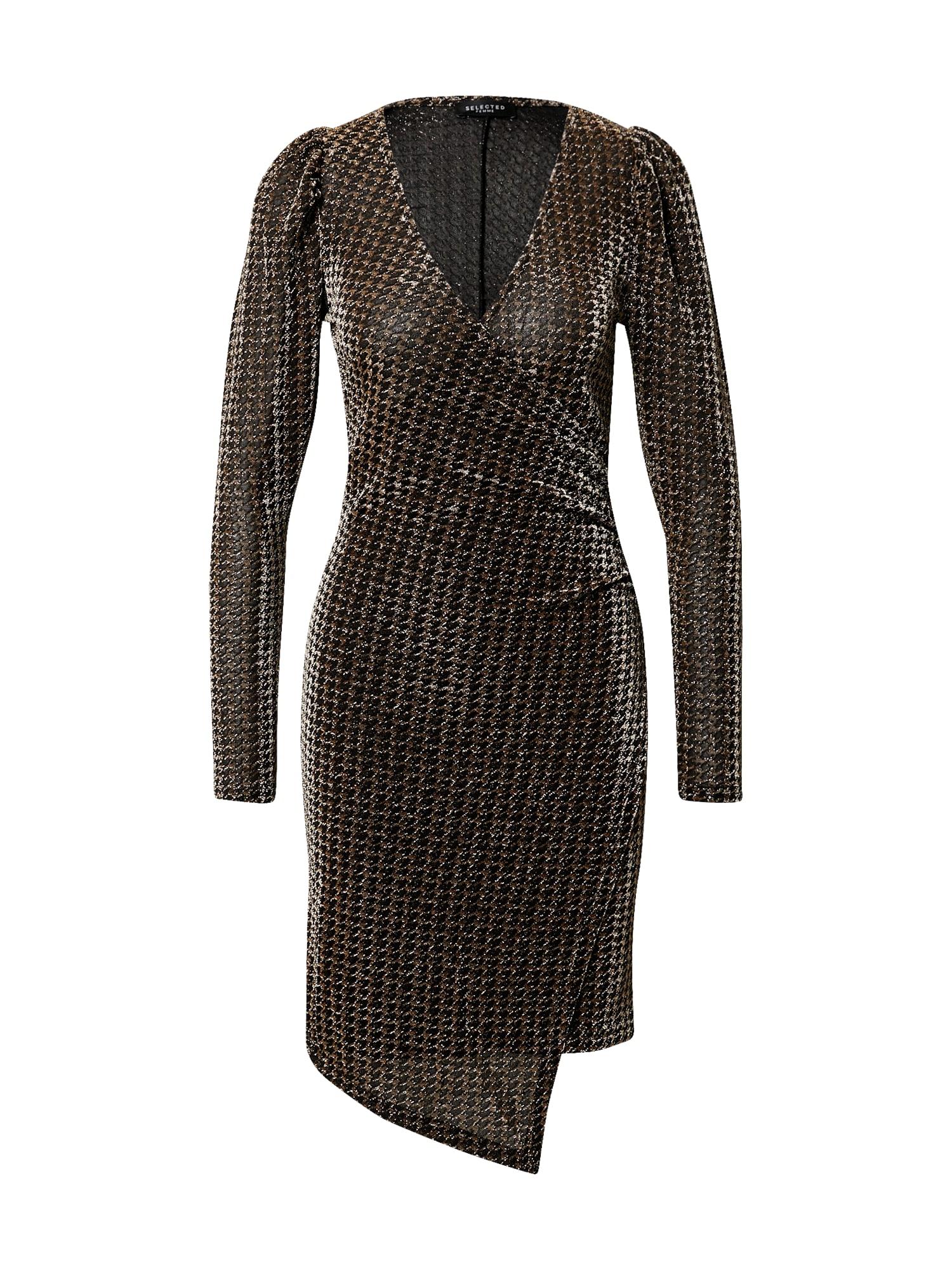 SELECTED FEMME Šaty 'Petra'  bronzová / černá