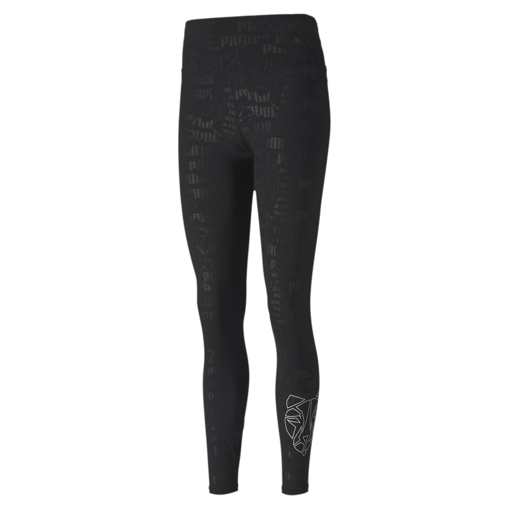 PUMA Sportovní kalhoty  černá / bílá / šedá
