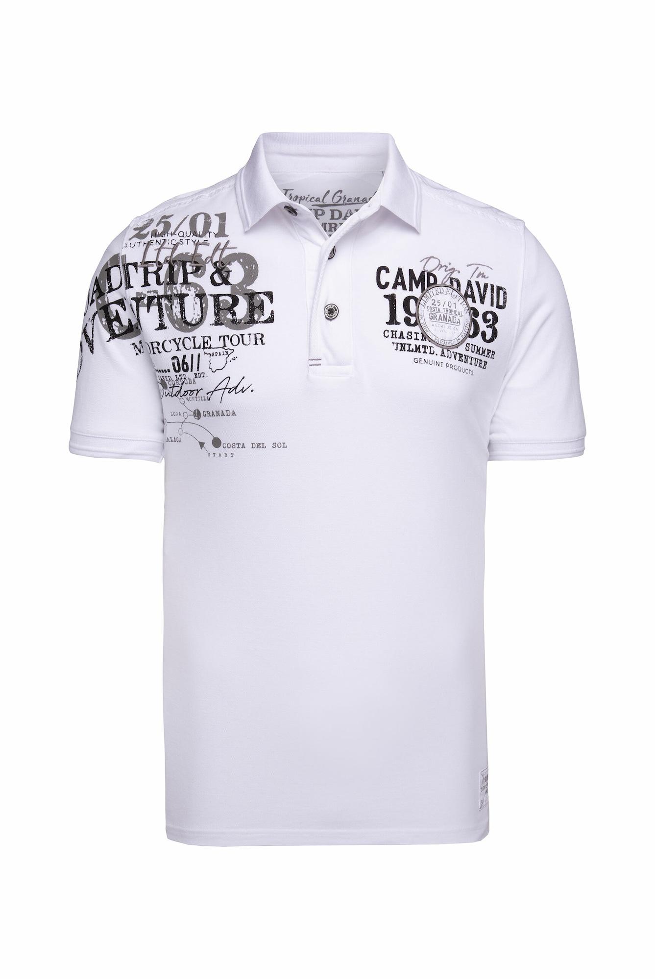 CAMP DAVID Marškinėliai balkšva / juoda / rausvai pilka