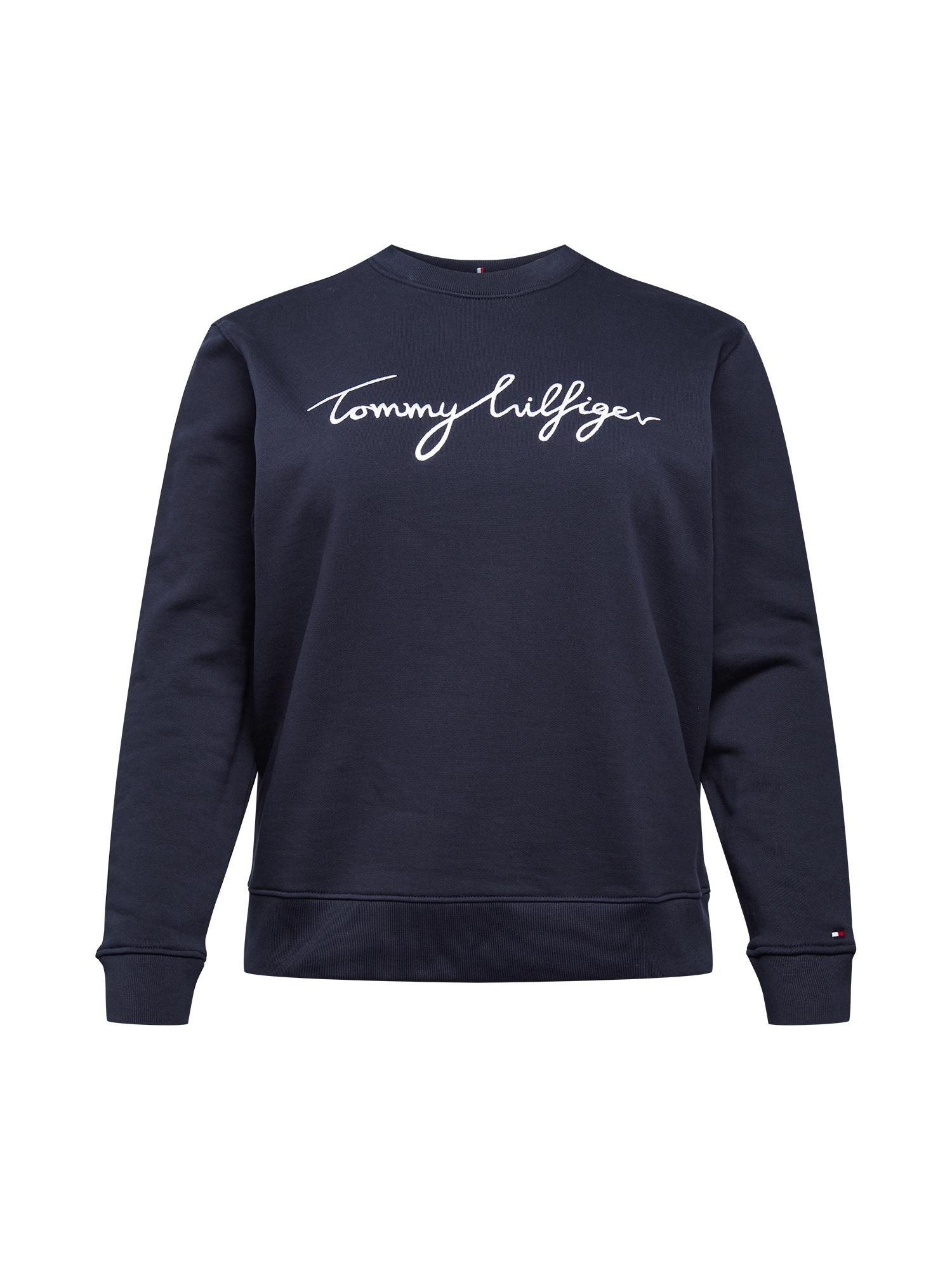 Tommy Hilfiger Curve Megztinis be užsegimo tamsiai mėlyna / balta