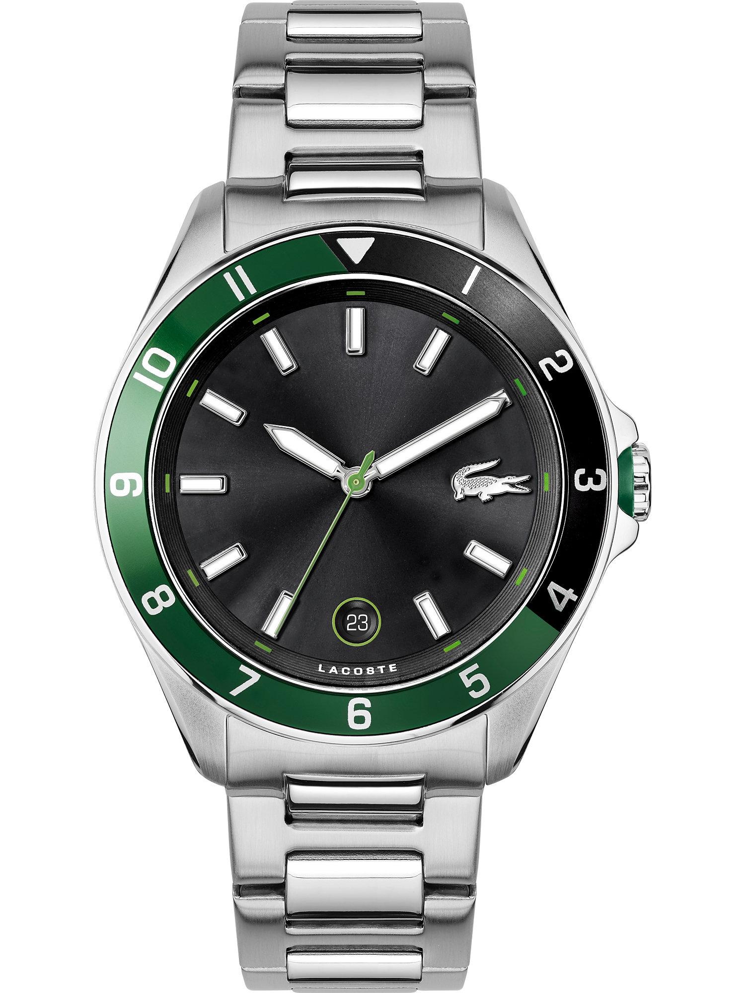 LACOSTE Analoginis (įprasto dizaino) laikrodis sidabrinė / žalia