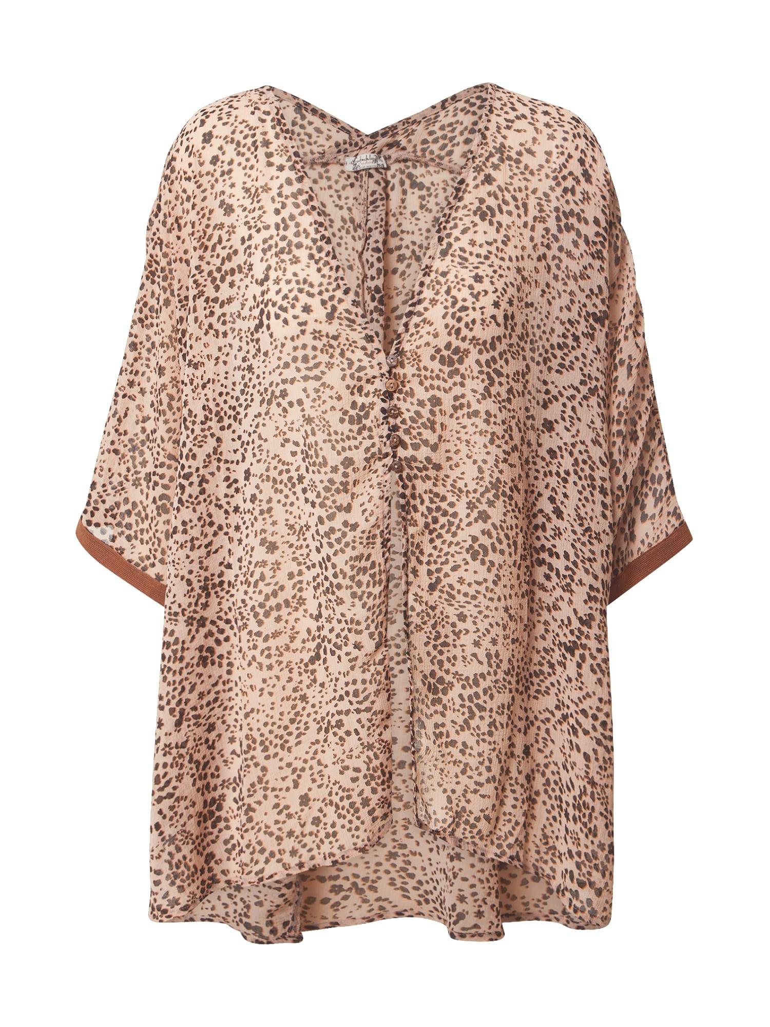 Free People Pižaminiai marškinėliai ruda / smėlio / zomšos spalva