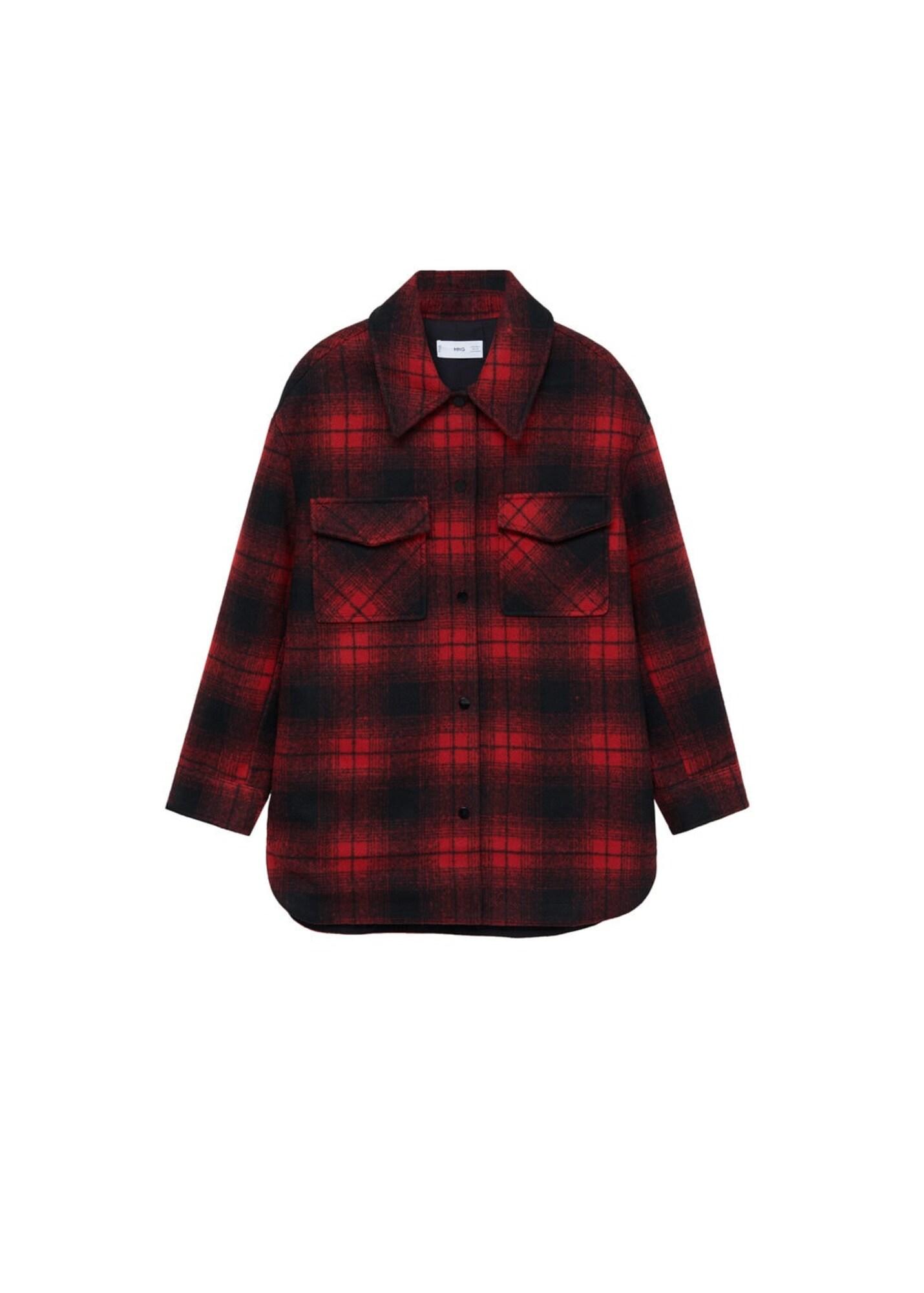 MANGO Přechodná bunda  červená / černá