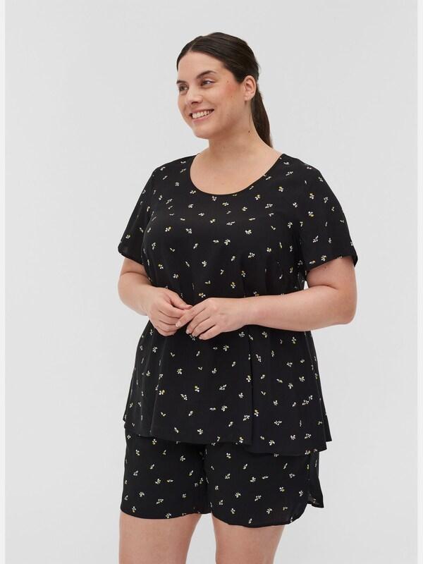 Bluse von Zizzi.  Schöne Bluse aus 100% Viskose mit A-Linie, die einen femininen und schönen Fall verleiht. Die Bluse hat kurze Ärmel, einen Rundhalsausschnitt sowie einen tollen All-Over Print, der einen femininen Touch verleiht.