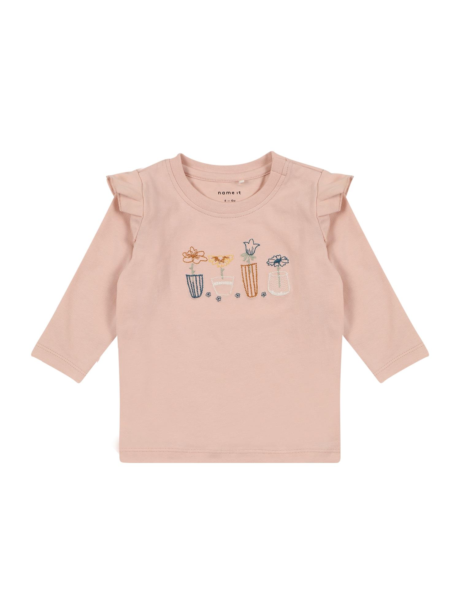 NAME IT Marškinėliai 'DONNA' ryškiai rožinė spalva / balta / medaus spalva / violetinė-mėlyna / žaliosios citrinos spalva