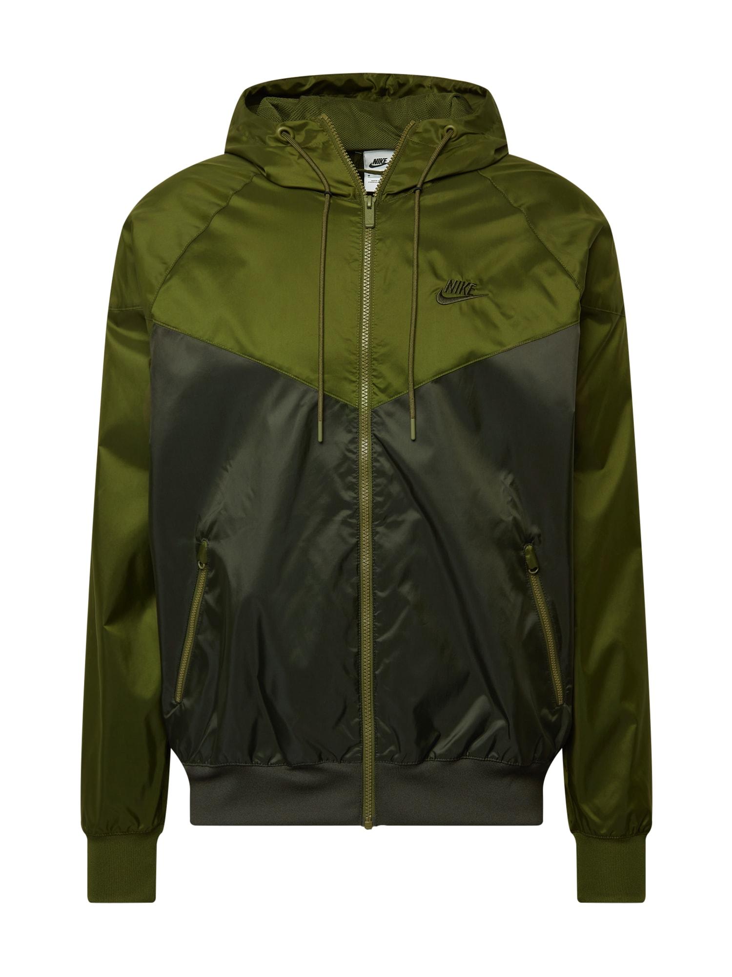 Nike Sportswear Demisezoninė striukė alyvuogių spalva / tamsiai žalia