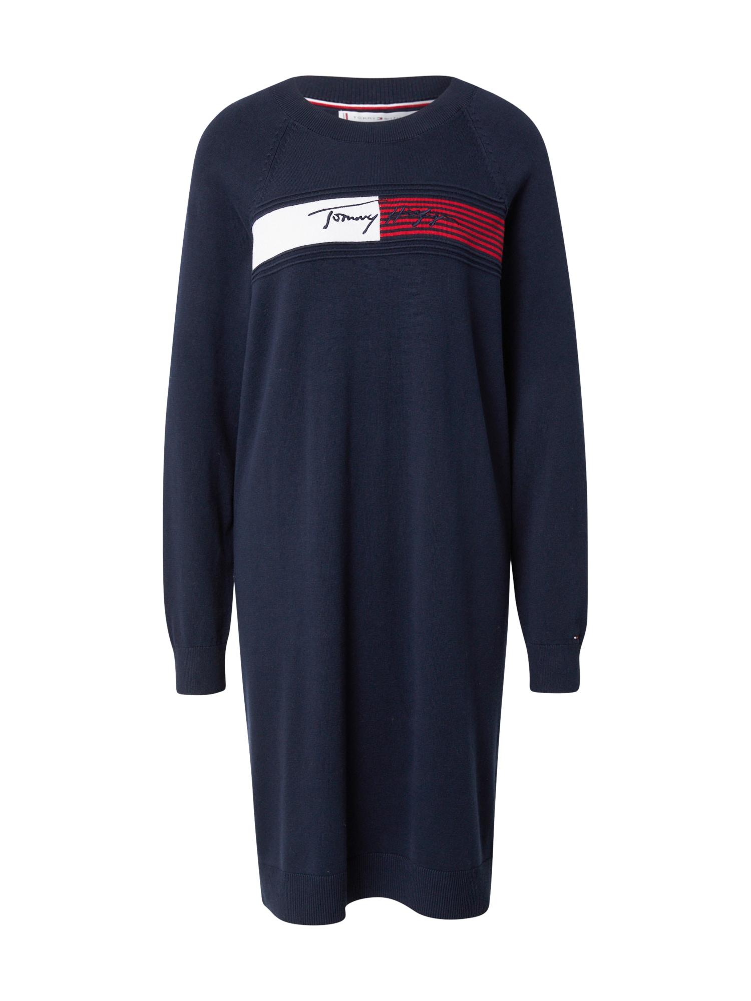 TOMMY HILFIGER Úpletové šaty  tmavě modrá / bílá / červená