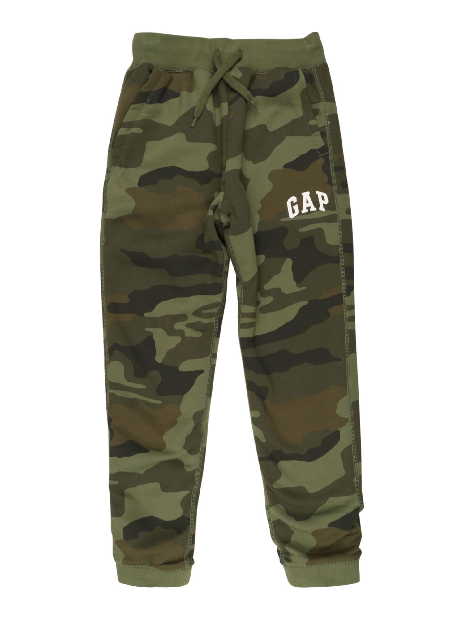 GAP Kalhoty  khaki / světle zelená / černá / bílá