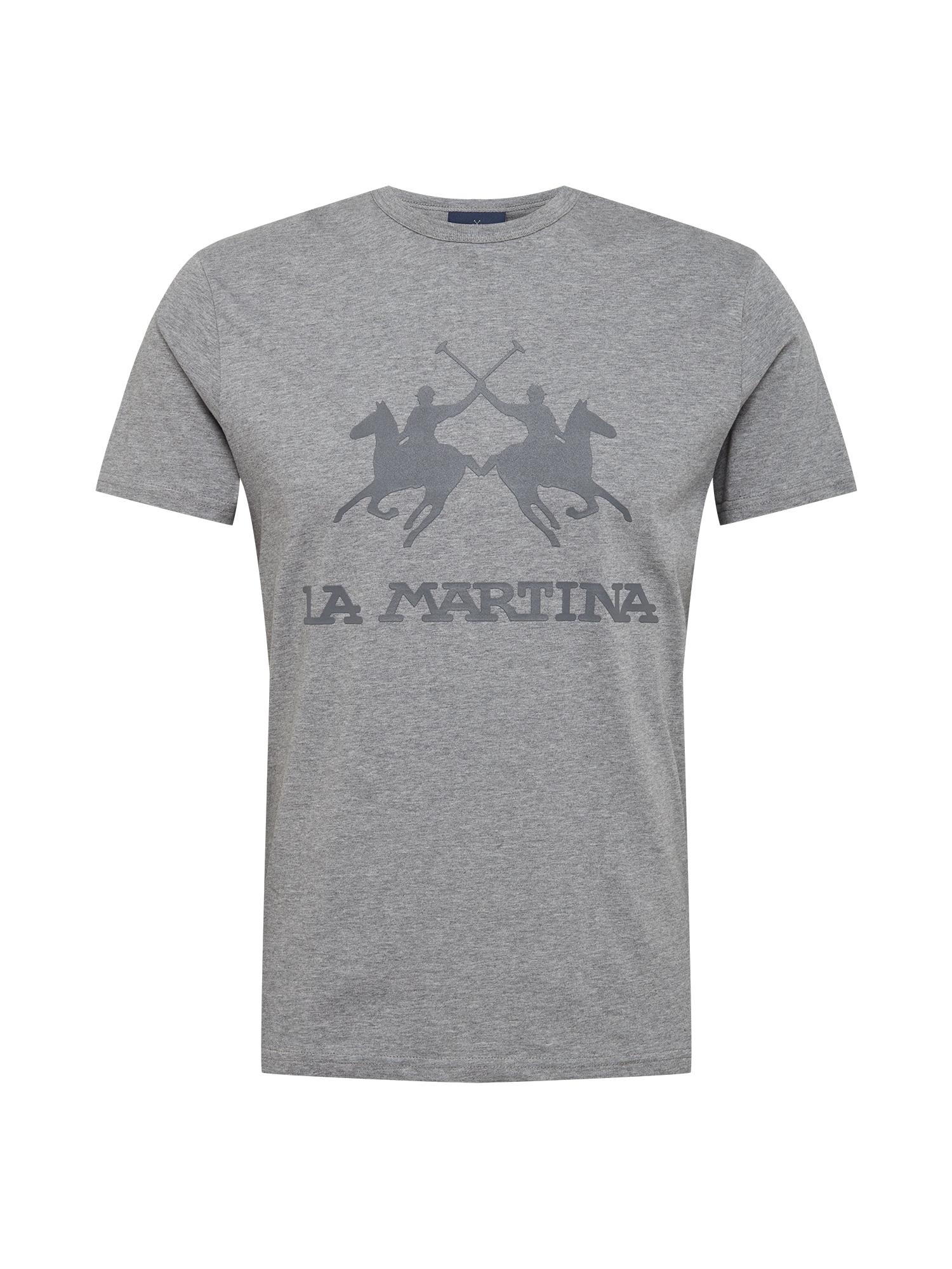 La Martina Marškinėliai margai pilka / akmens