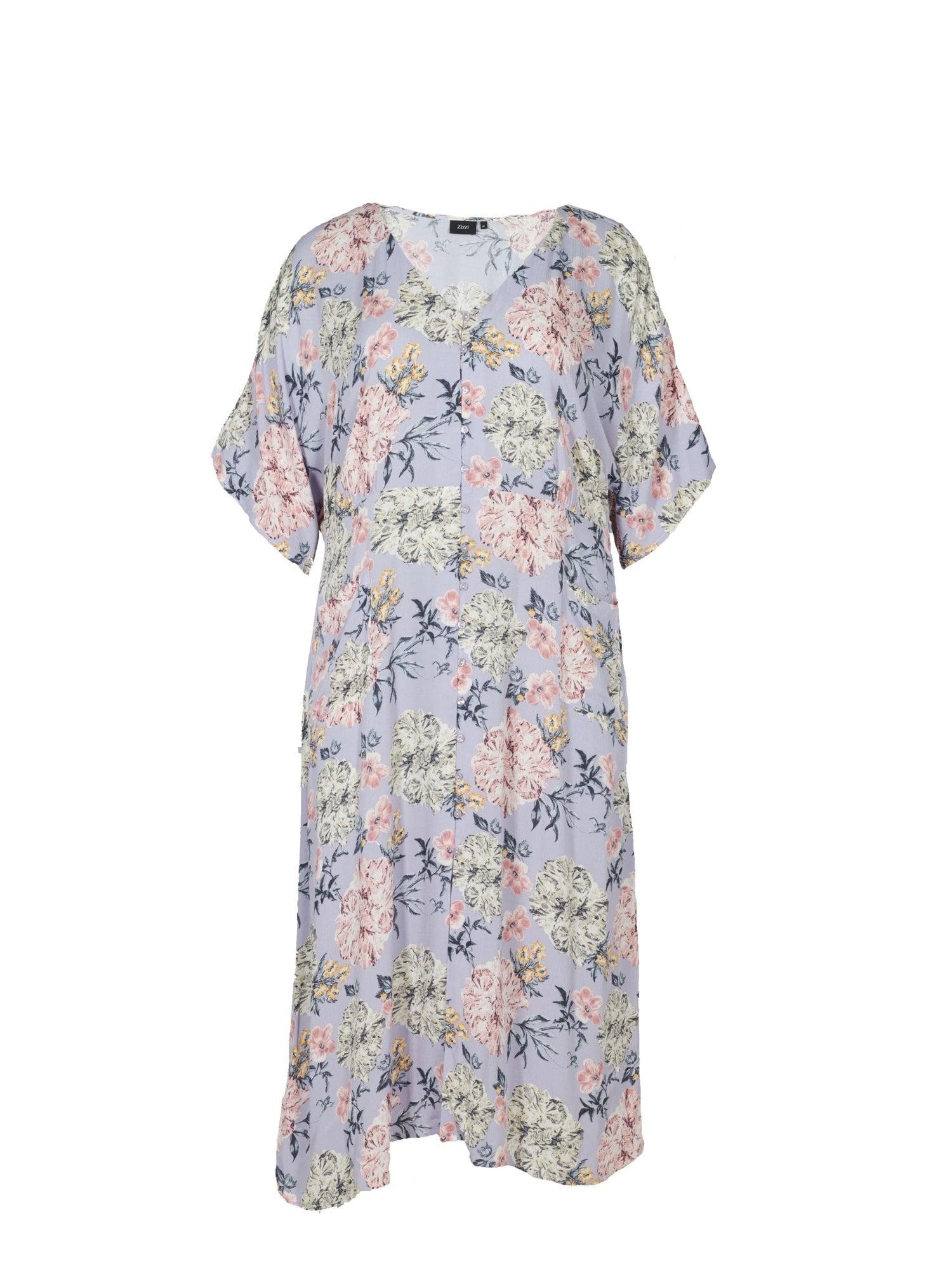 Zizzi Košilové šaty 'Vwisma'  pastelově zelená / šeříková / azurová / tmavě modrá / růžová