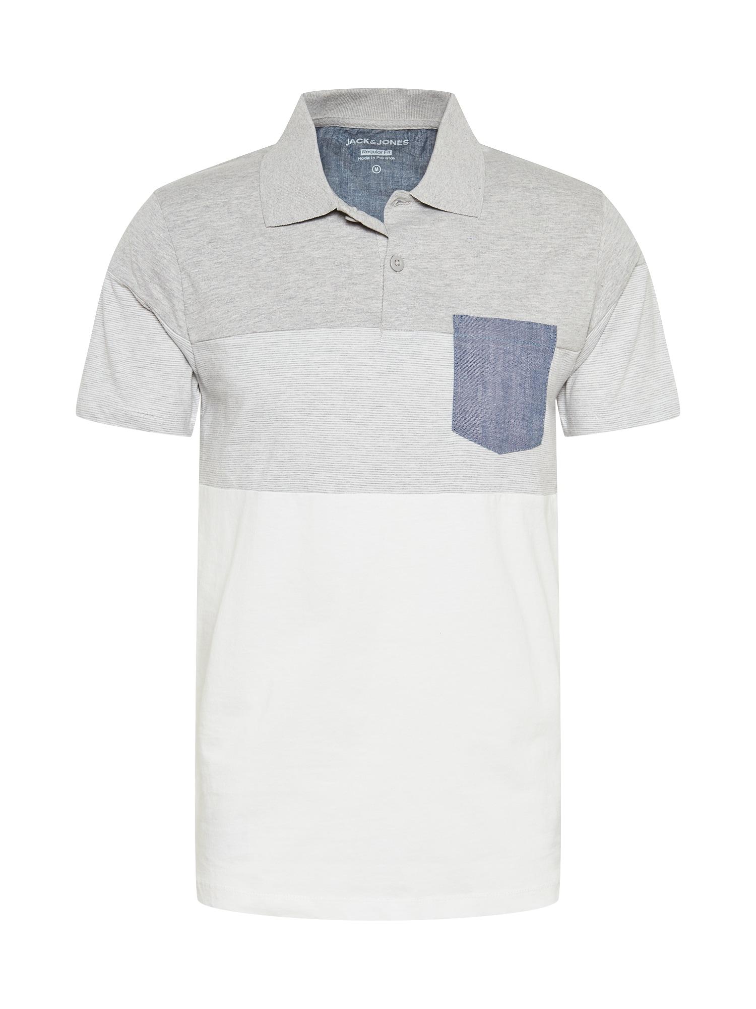JACK & JONES Marškinėliai pilka / balta / melsvai pilka