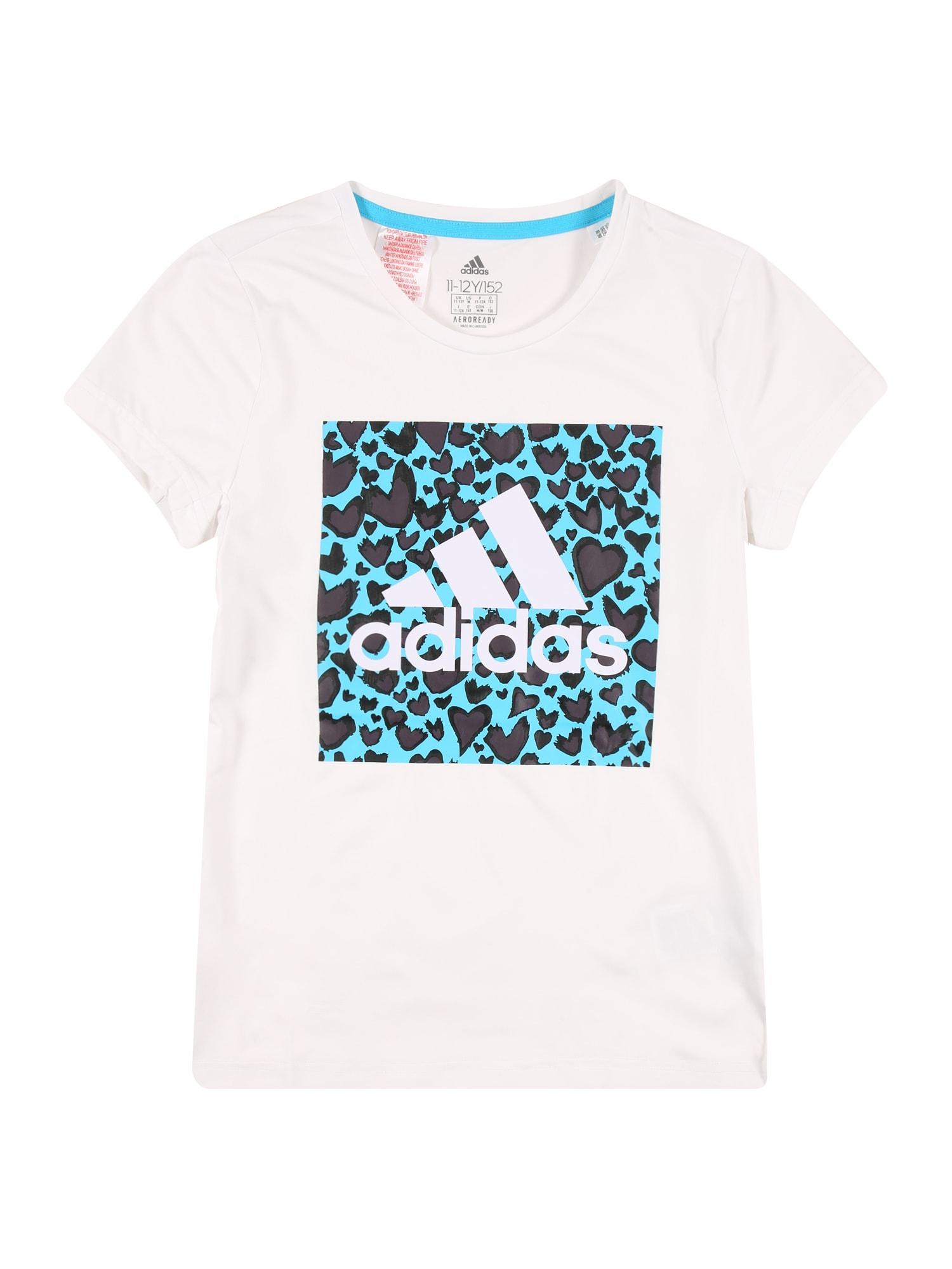 ADIDAS PERFORMANCE Sportiniai marškinėliai balta / turkio spalva / bazalto pilka