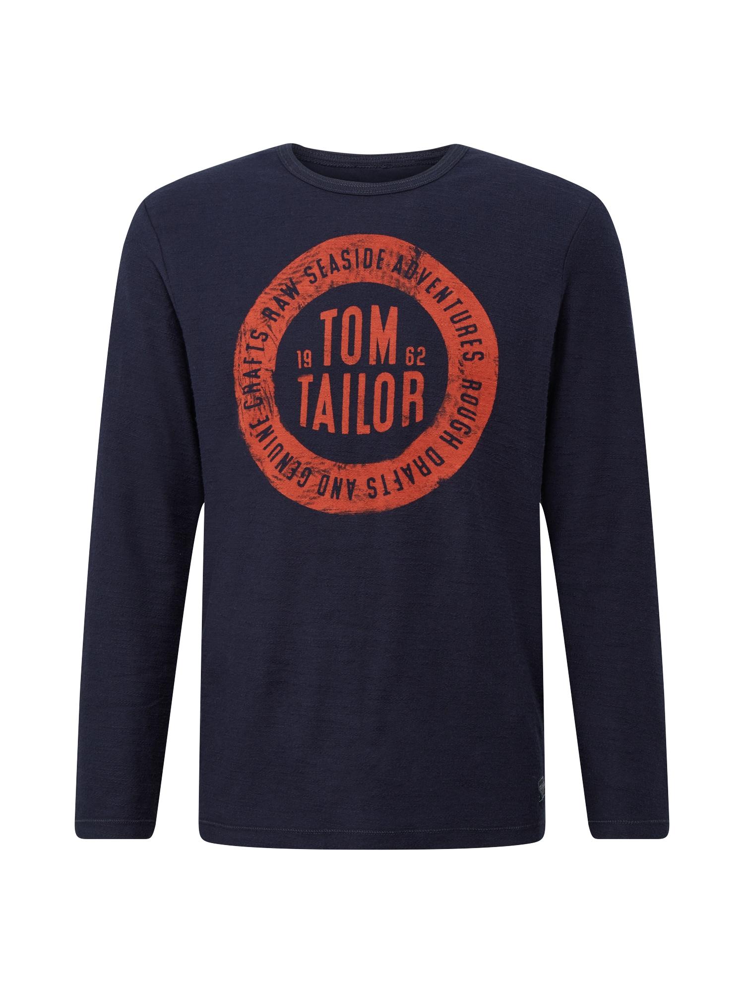 TOM TAILOR Tričko  kobaltová modř / rezavě červená