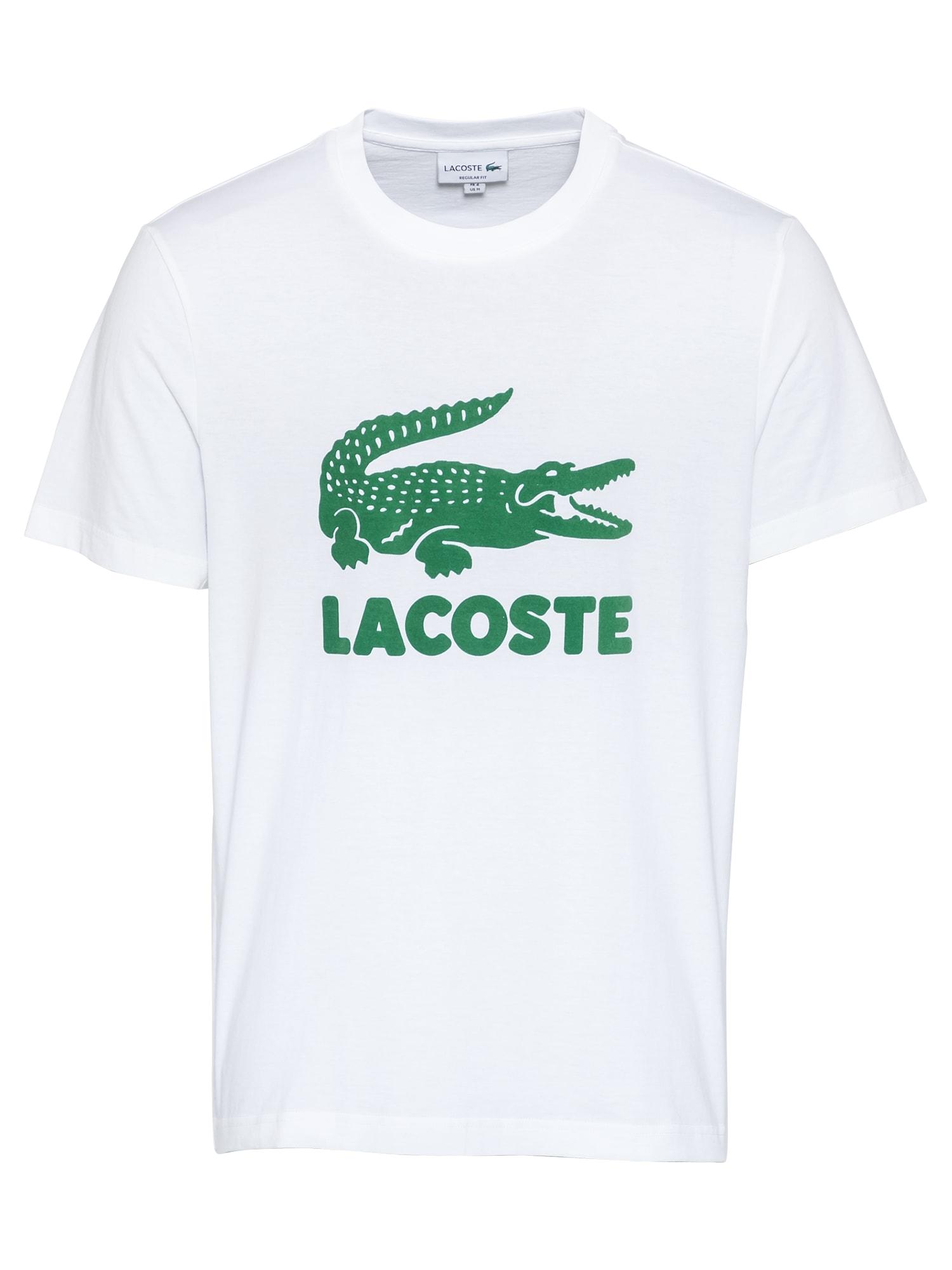 LACOSTE Marškinėliai balta / žalia