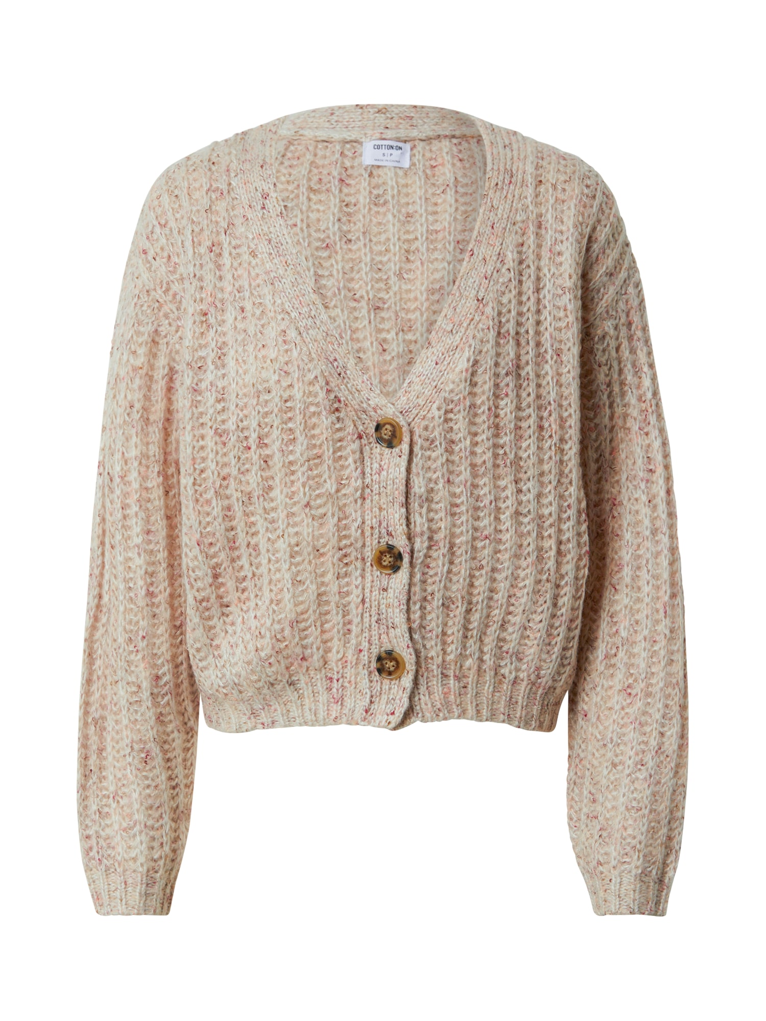 Cotton On Kardiganas gelsvai pilka spalva / ryškiai rožinė spalva / pastelinė raudona / balta