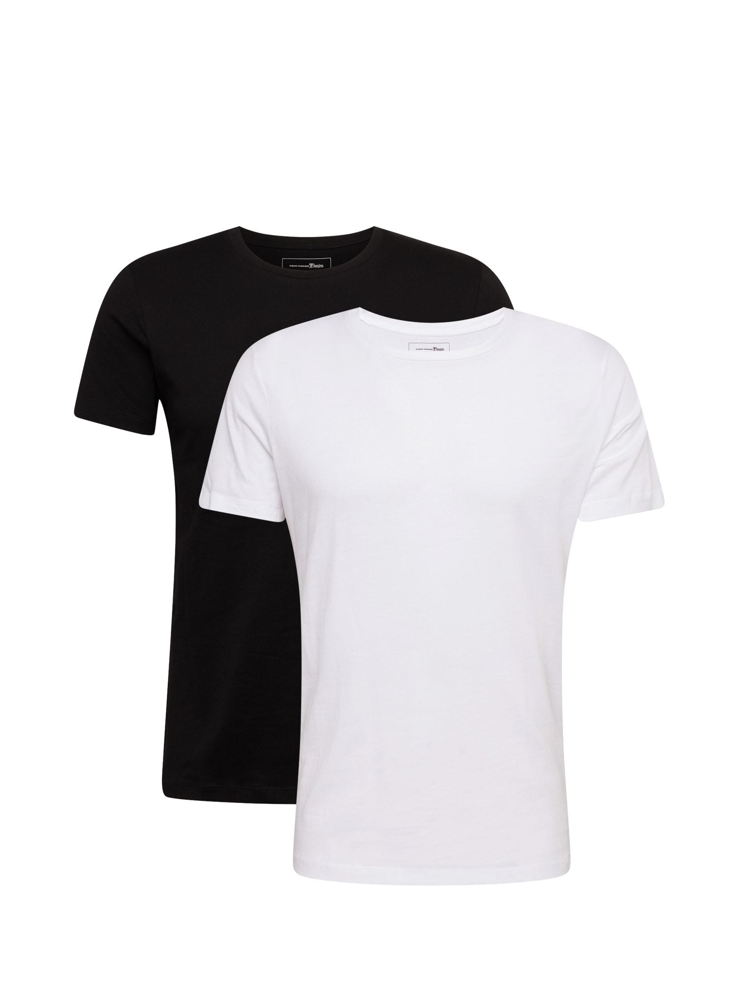 TOM TAILOR DENIM Marškinėliai juoda / balkšva