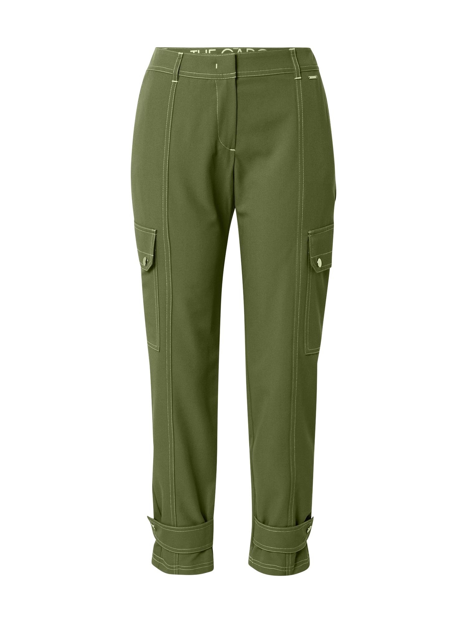 TAIFUN Darbinio stiliaus džinsai rusvai žalia