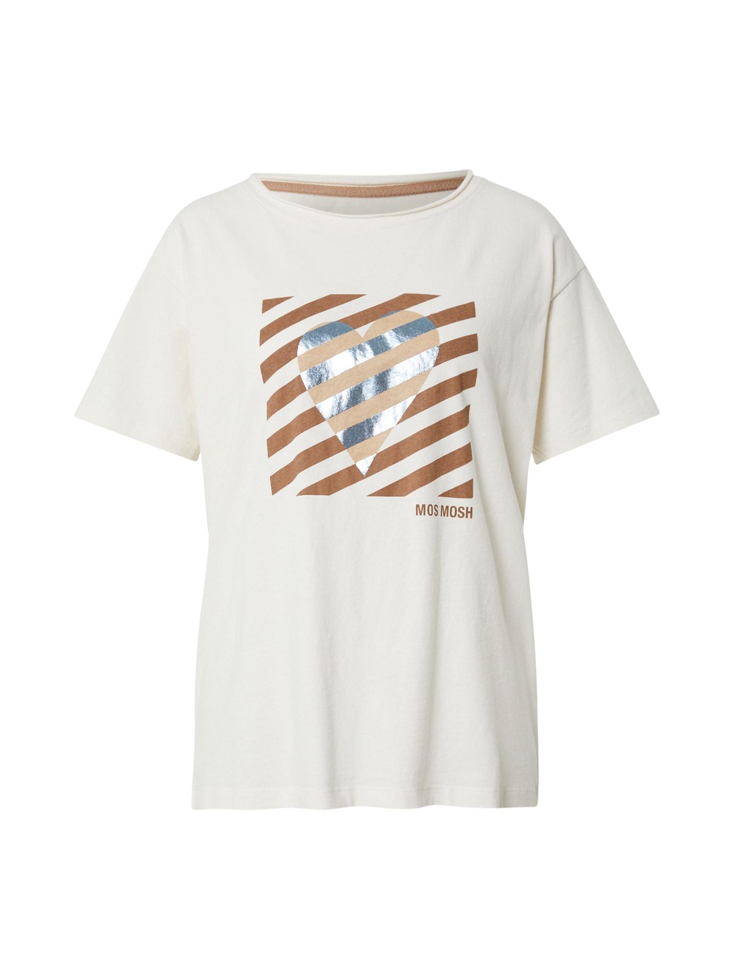 MOS MOSH Marškinėliai balta / ruda / sidabrinė / šviesiai ruda
