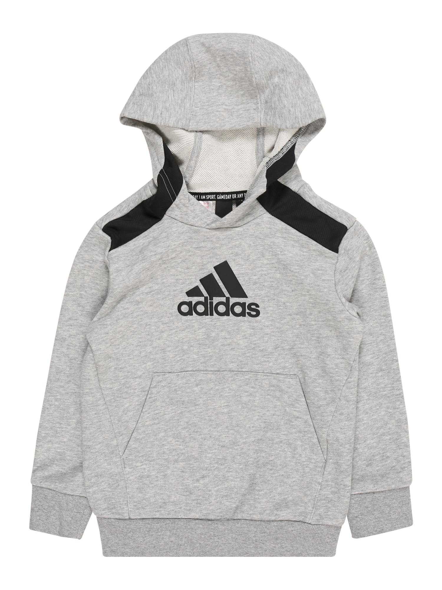 ADIDAS PERFORMANCE Sportinio tipo megztinis juoda / margai pilka