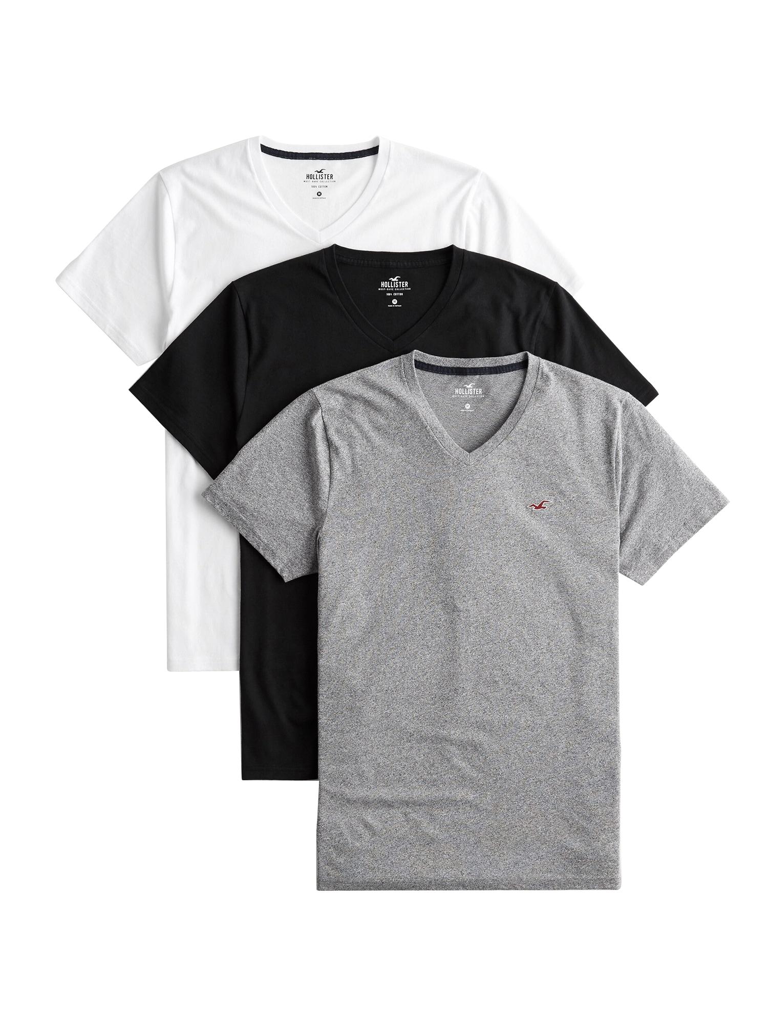 HOLLISTER Marškinėliai juoda / balta / pilka