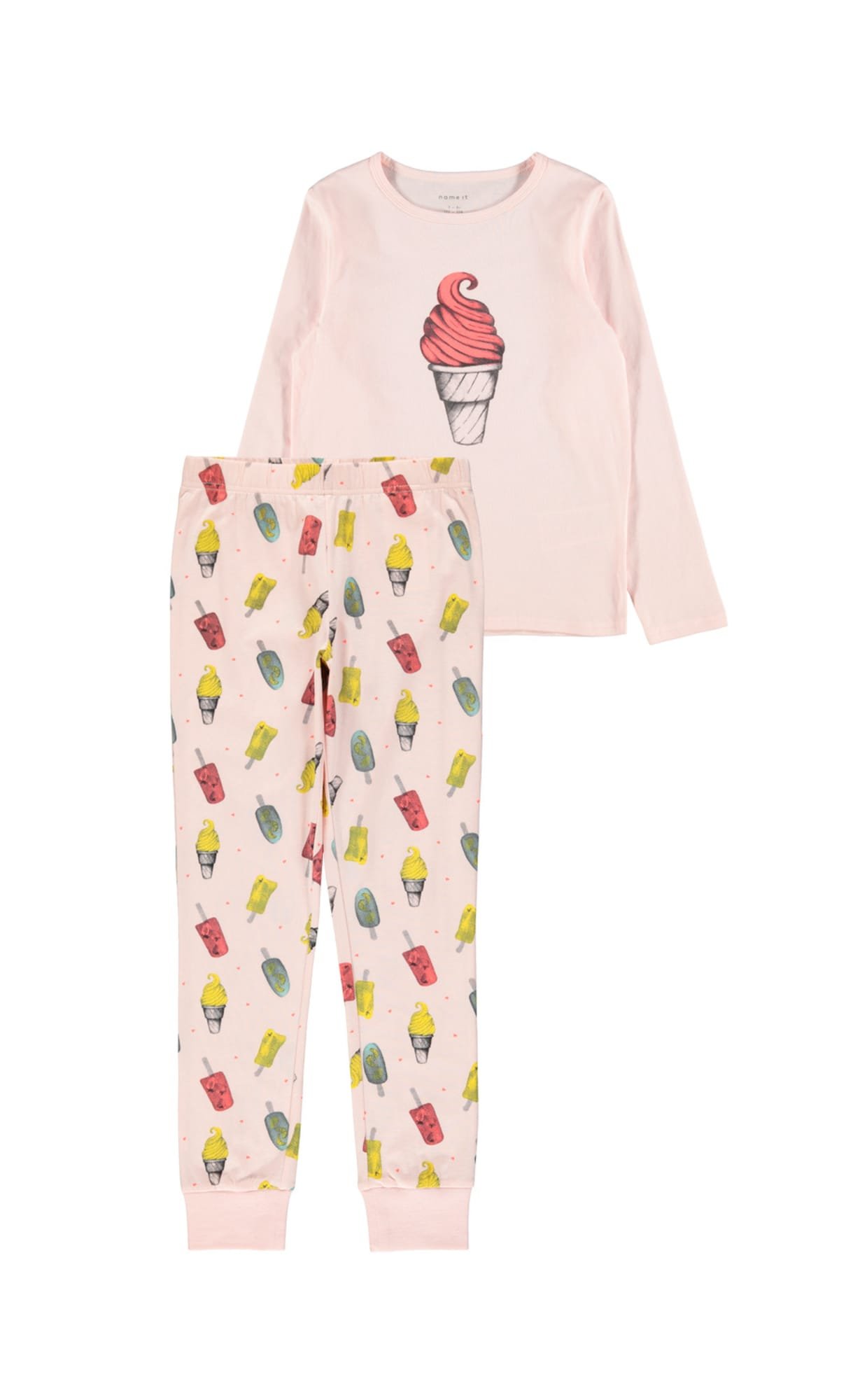 NAME IT Miego kostiumas 'NKFNIGHTSET POTPOURRI ICE AOP NOOS' rožinė / mišrios spalvos