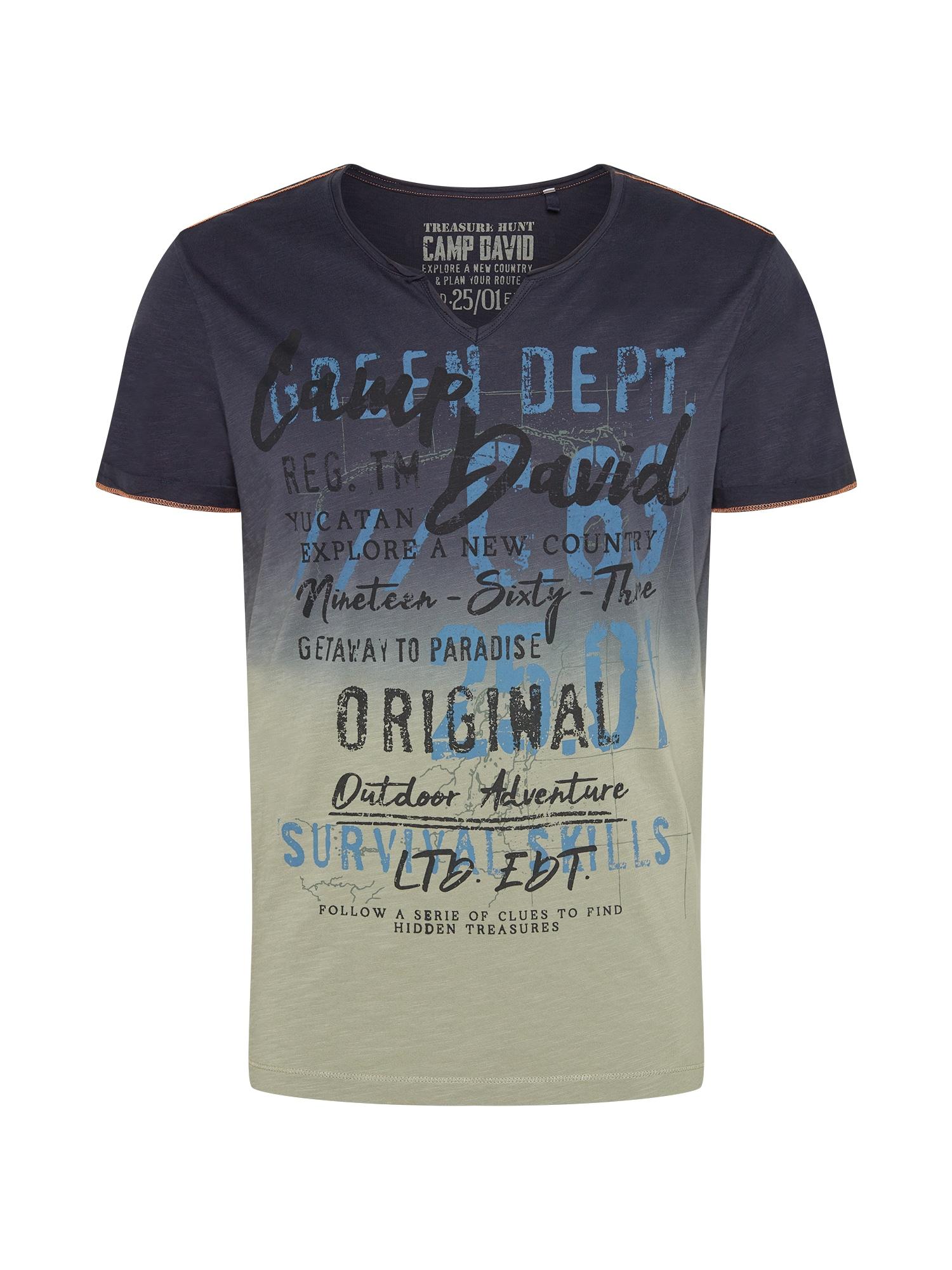 CAMP DAVID Marškinėliai dūmų pilka / mėlyna dūmų spalva / juoda / melsvai pilka