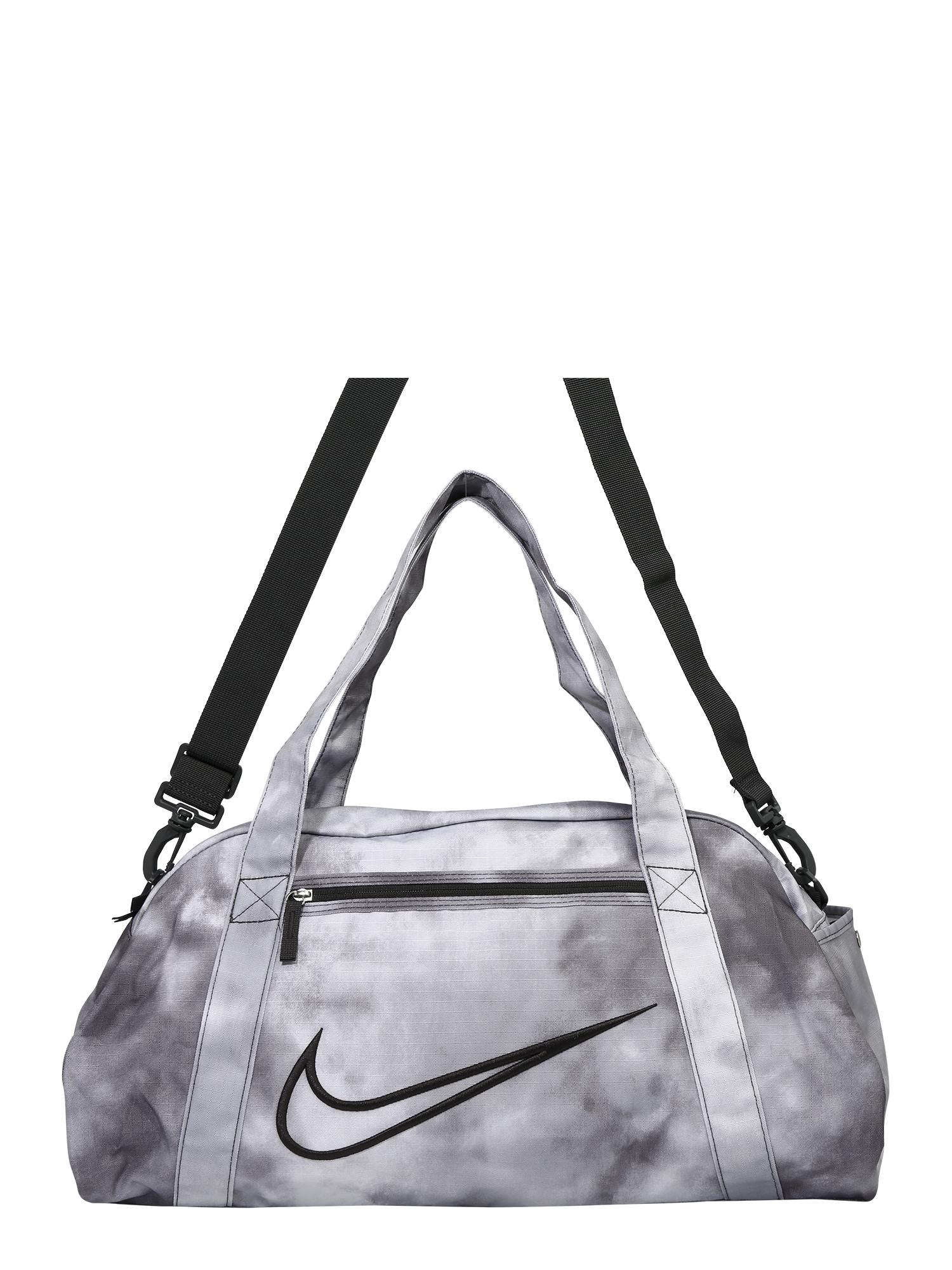 NIKE Sportovní taška  šedá / černá / bílá
