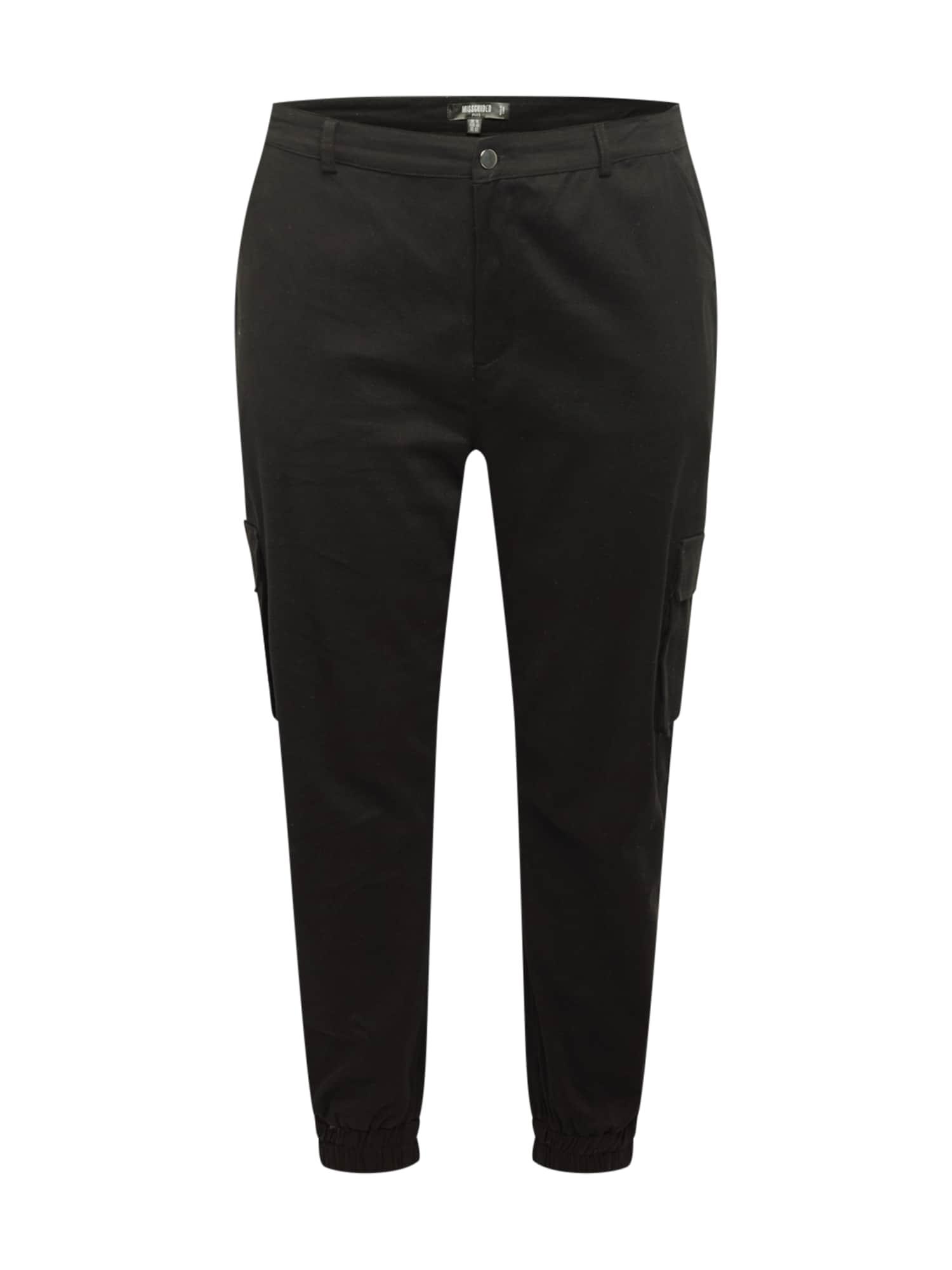 Missguided Plus Laisvo stiliaus kelnės juoda