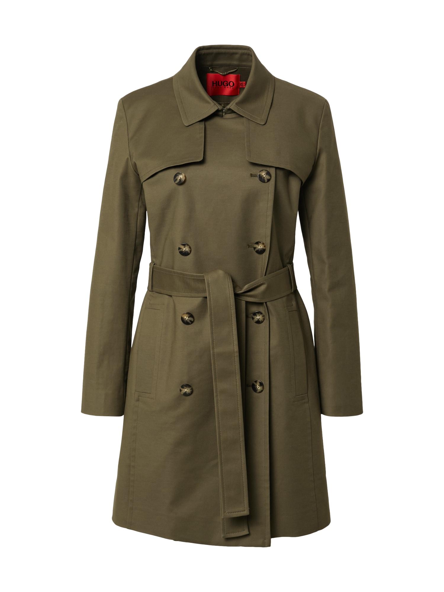 HUGO Demisezoninis paltas 'Makaras' rusvai žalia
