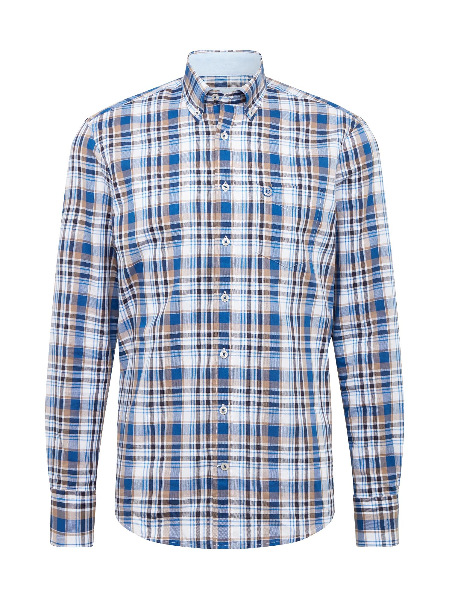 bugatti Marškiniai tamsiai mėlyna / mėlyna / balta / gelsvai pilka spalva