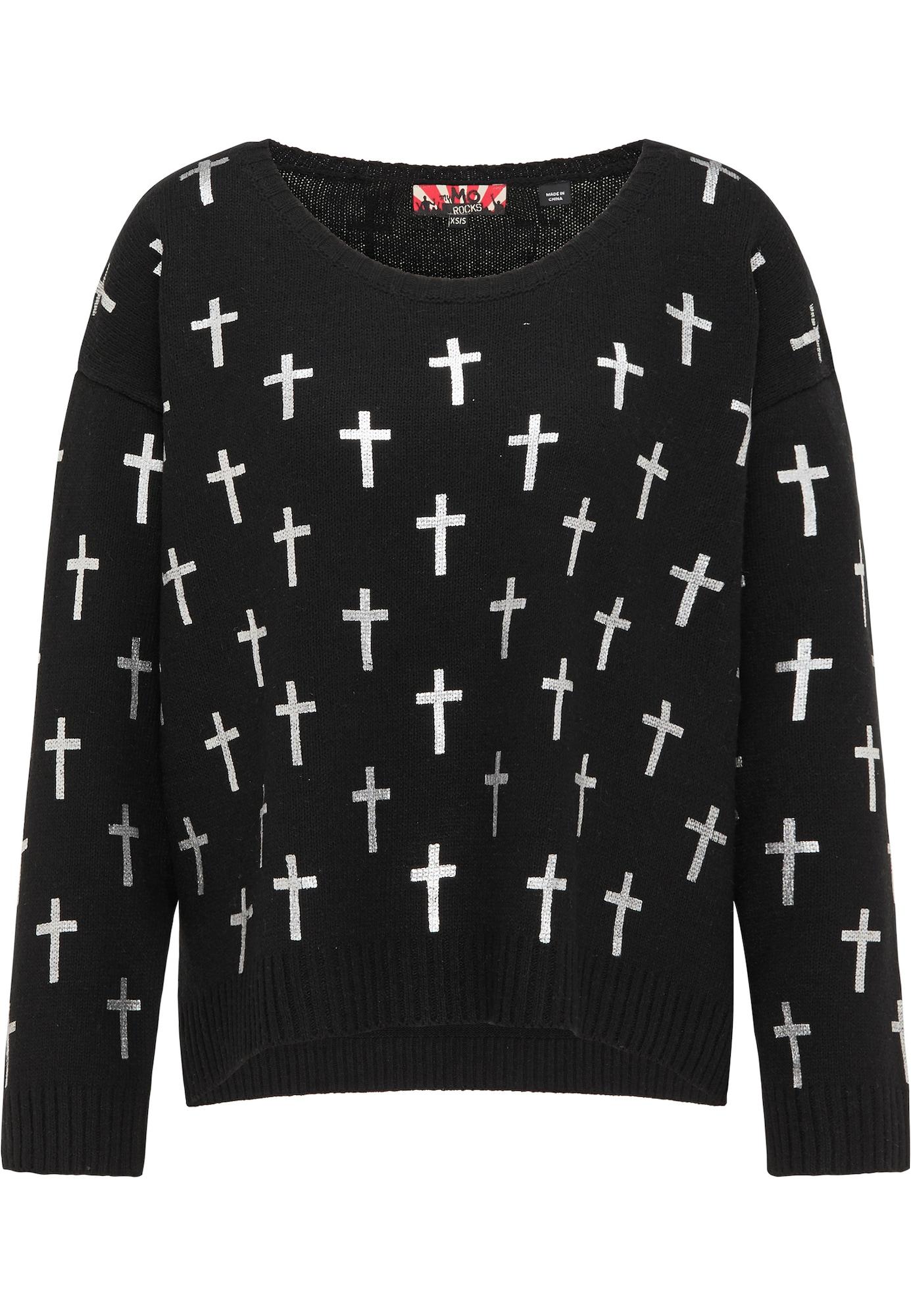 myMo ROCKS Laisvas megztinis balta / juoda
