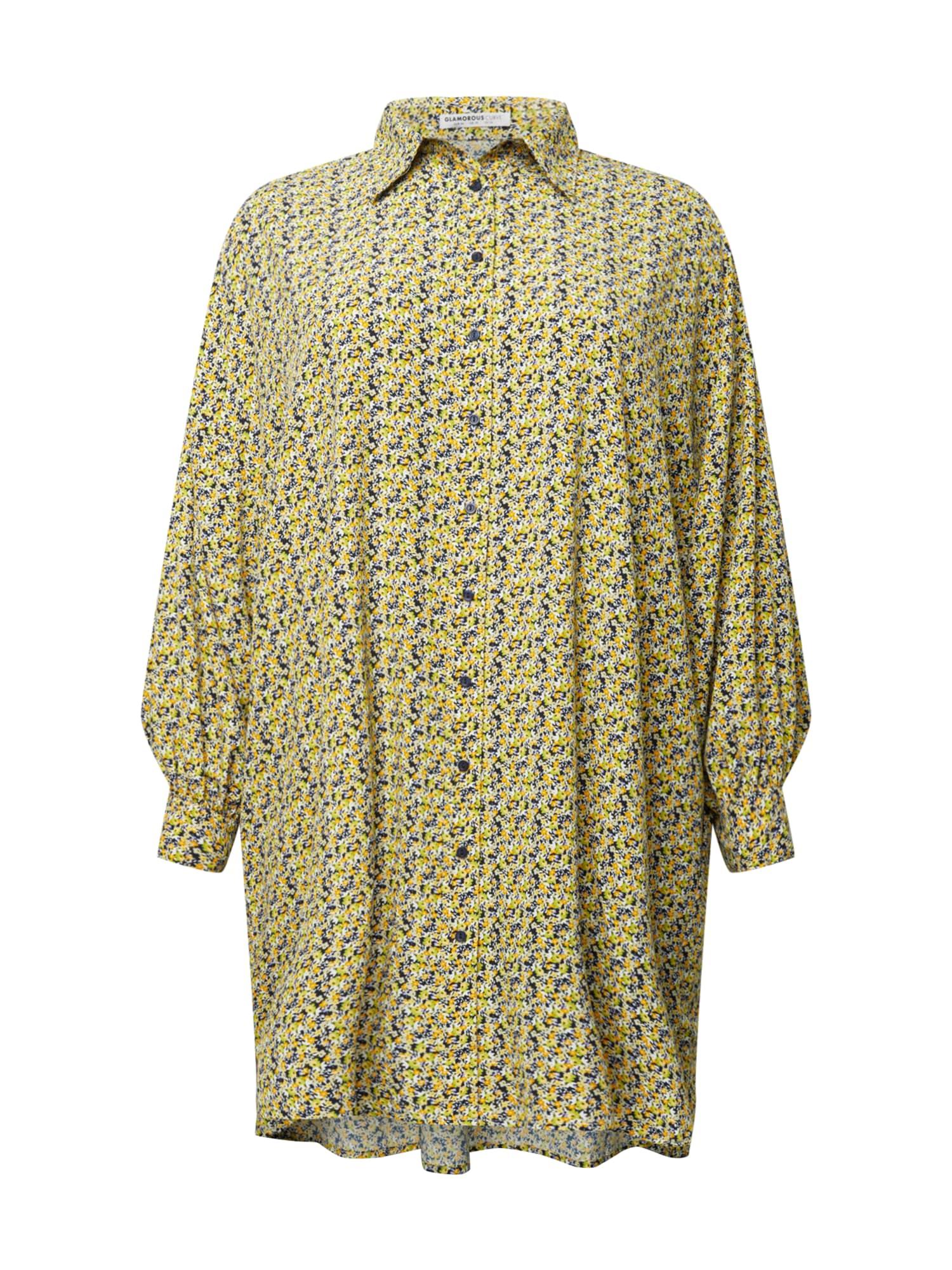 GLAMOROUS CURVE Palaidinės tipo suknelė geltona / balta / tamsiai mėlyna / mėlyna