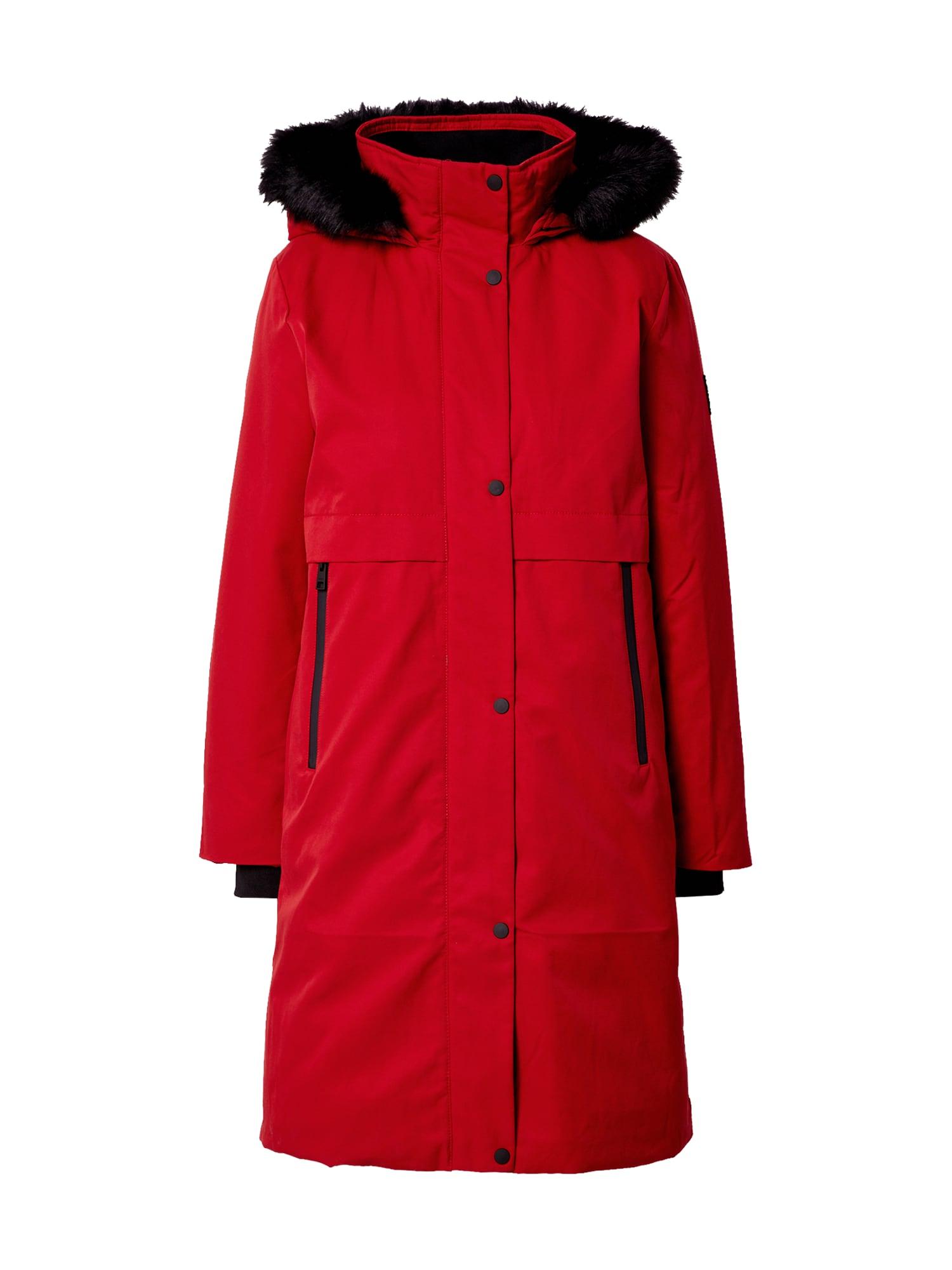 ESPRIT Žieminis paltas tamsiai raudona / juoda