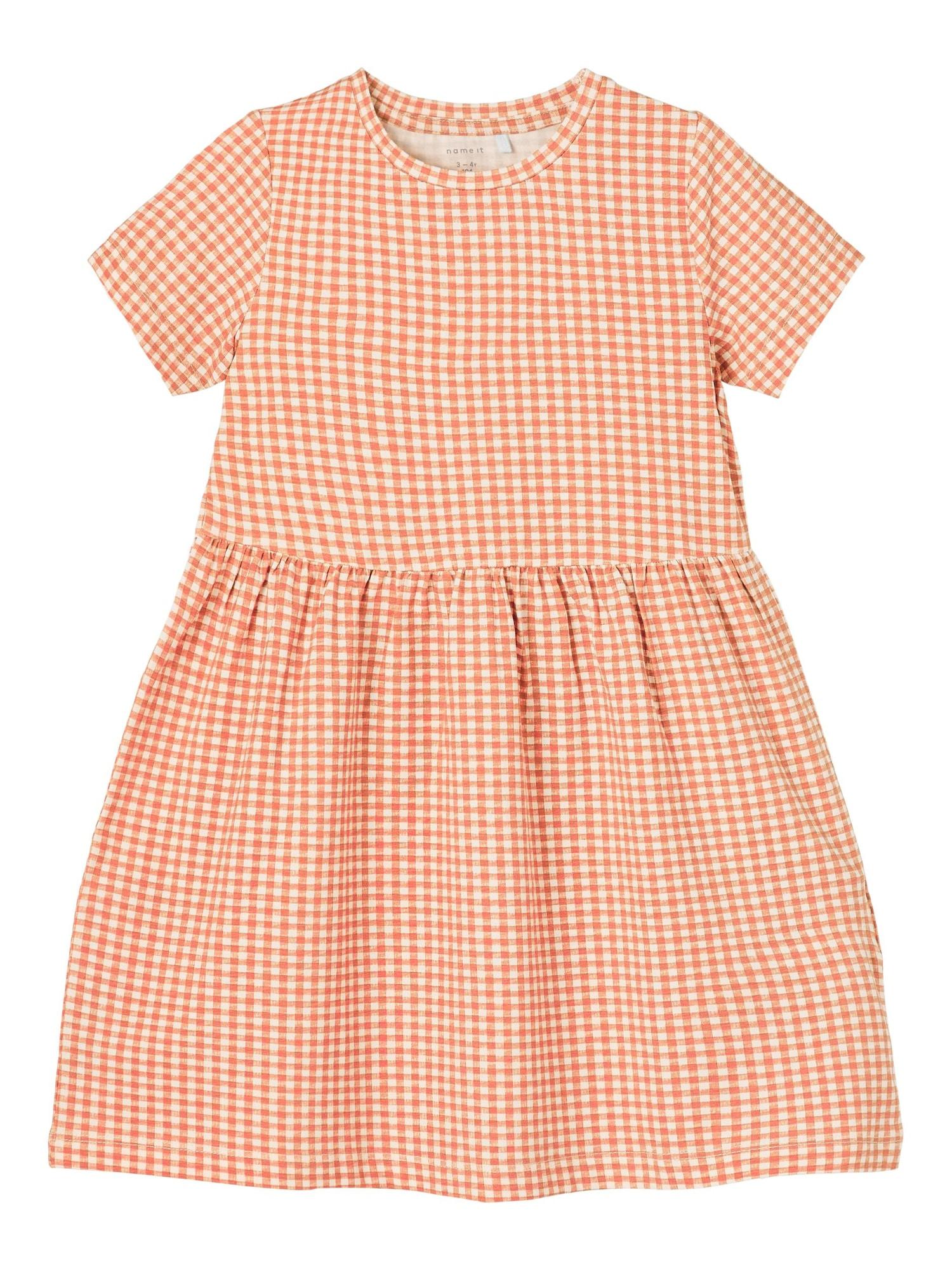 NAME IT Suknelė 'Damar' balta / tamsiai oranžinė / pastelinė oranžinė