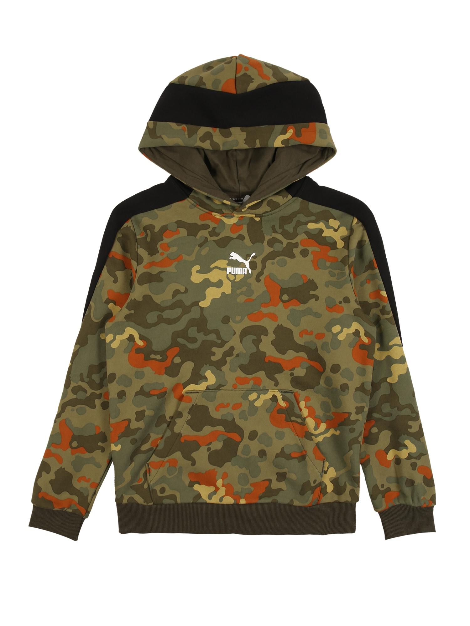 PUMA Sportinio tipo megztinis juoda / rusvai žalia / tamsiai oranžinė
