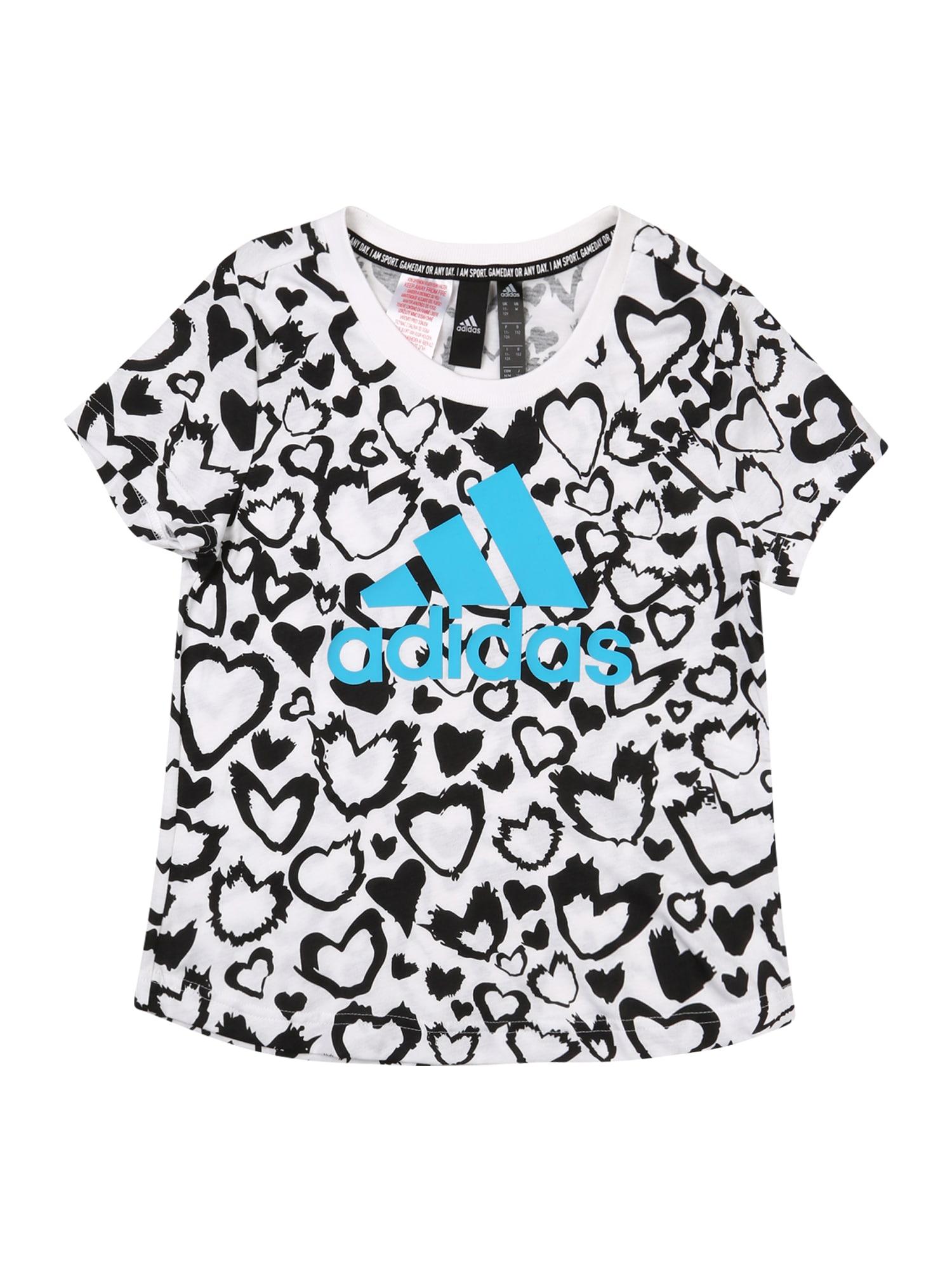 ADIDAS PERFORMANCE Sportiniai marškinėliai balta / juoda / žalsvai mėlyna