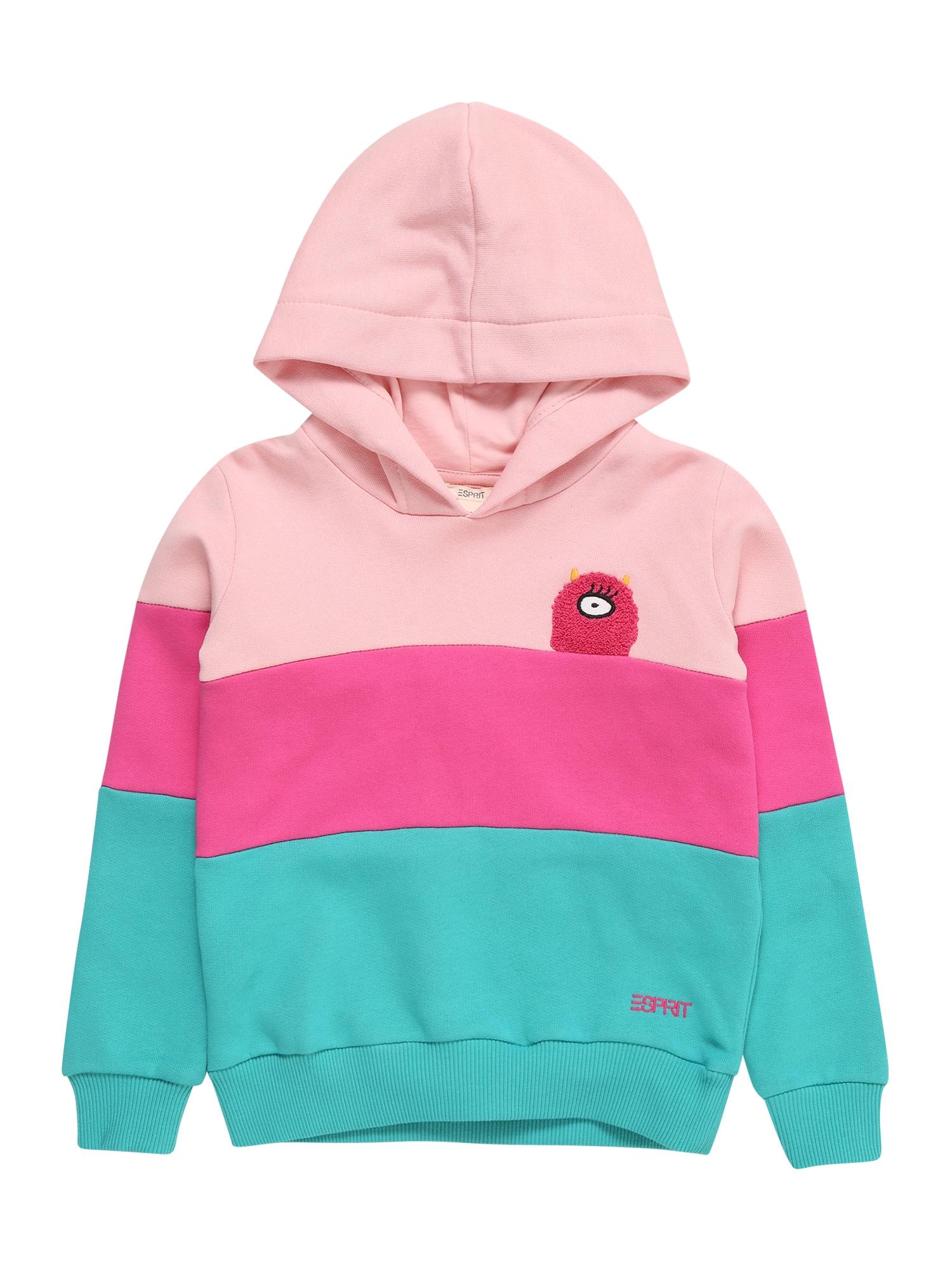 ESPRIT Mikina  růžová / pink / tyrkysová / pastelově červená / mix barev