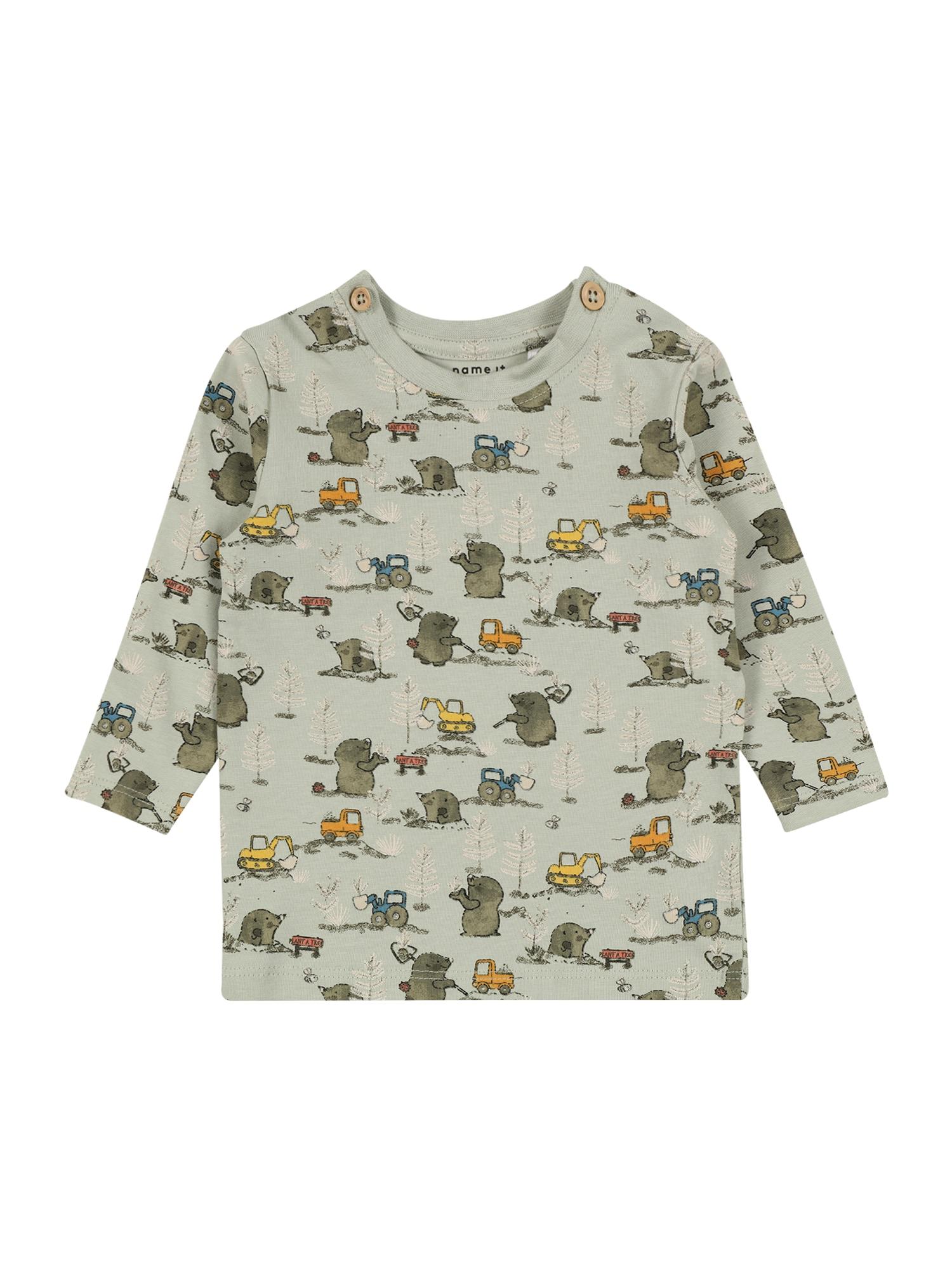 NAME IT Marškinėliai 'DITOM' pastelinė žalia / geltona / oranžinė