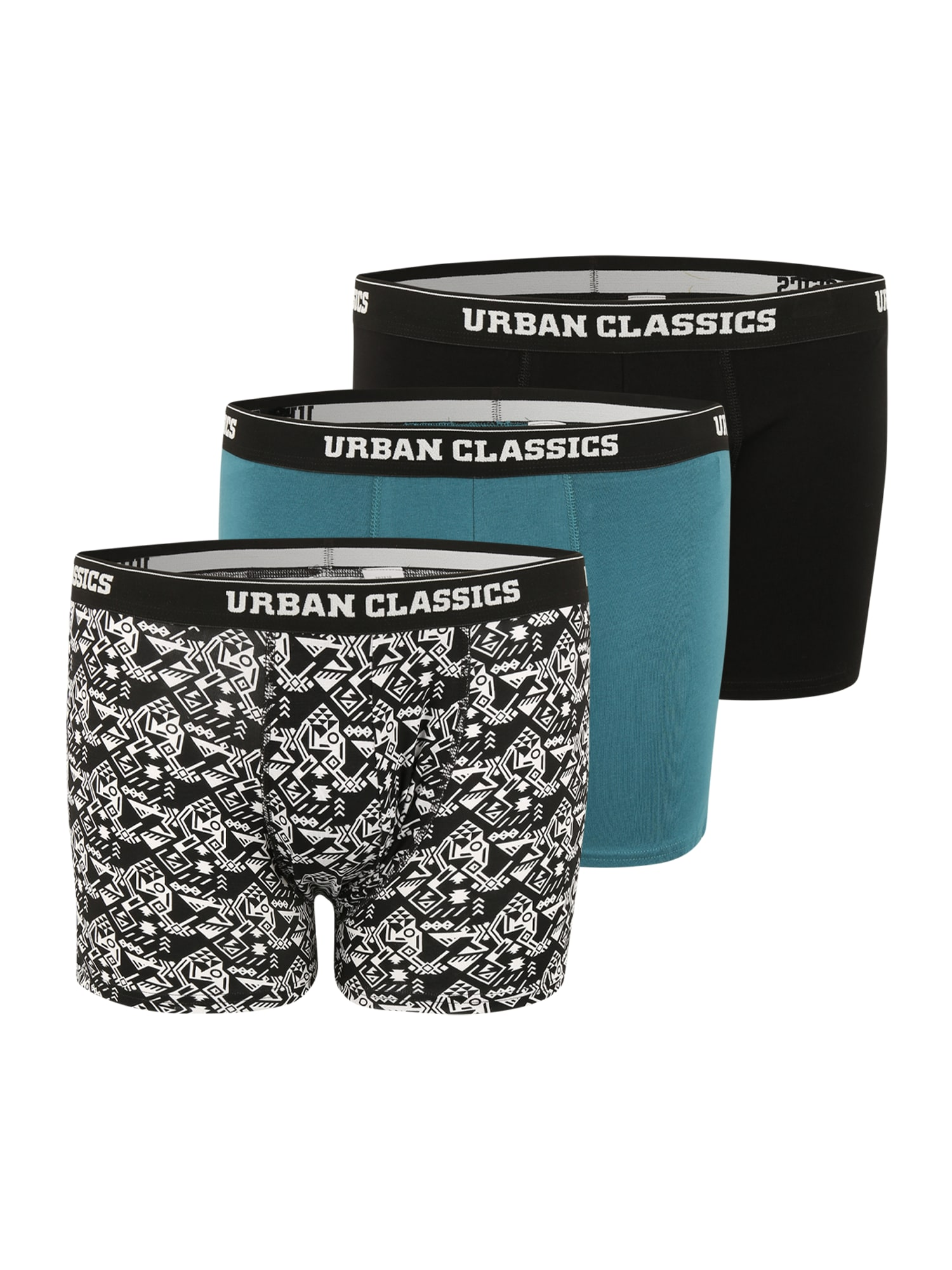 Urban Classics Plus Size Boxer trumpikės juoda / melsvai pilka / balta