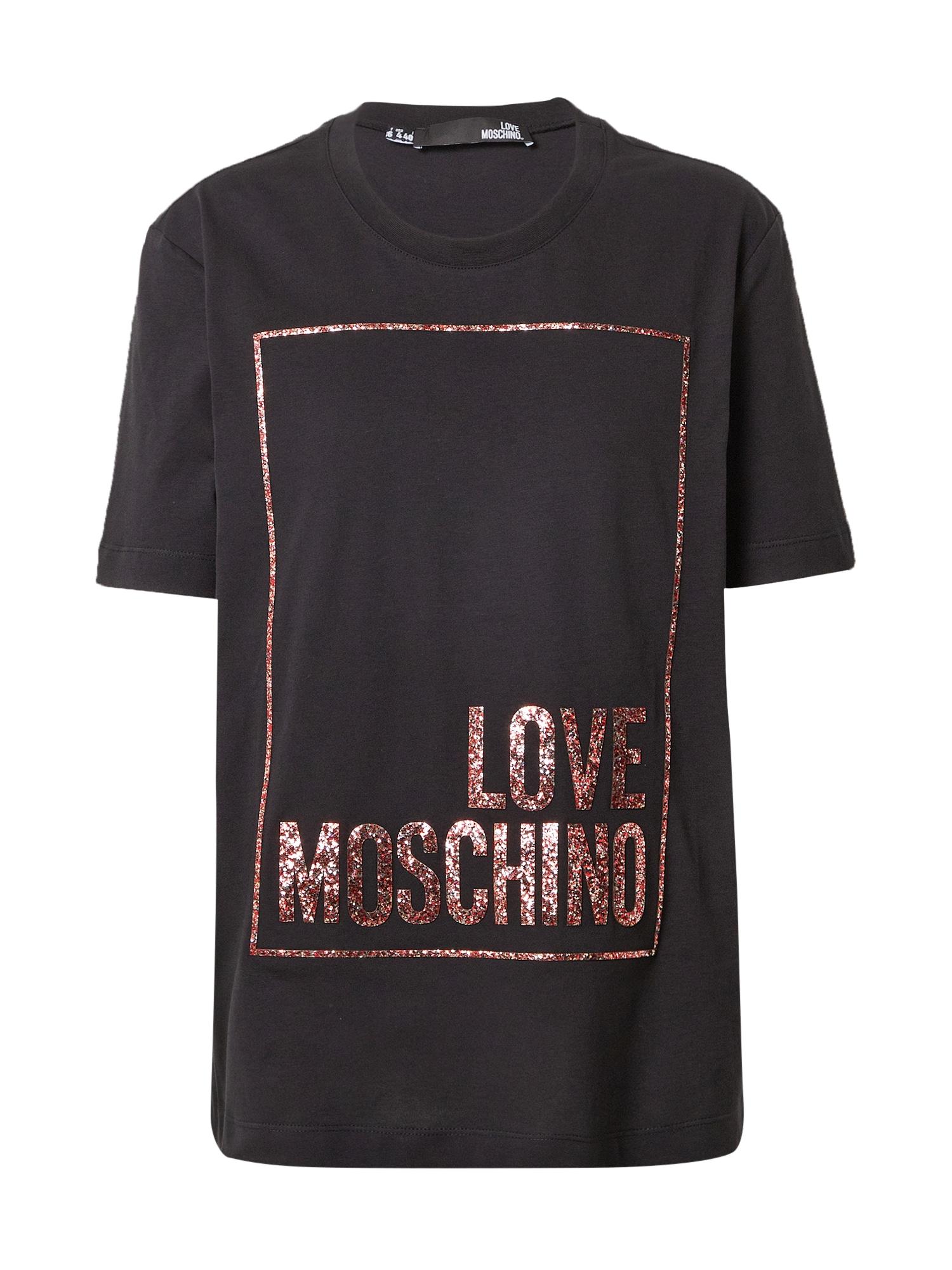 Love Moschino Marškinėliai juoda / tamsiai raudona