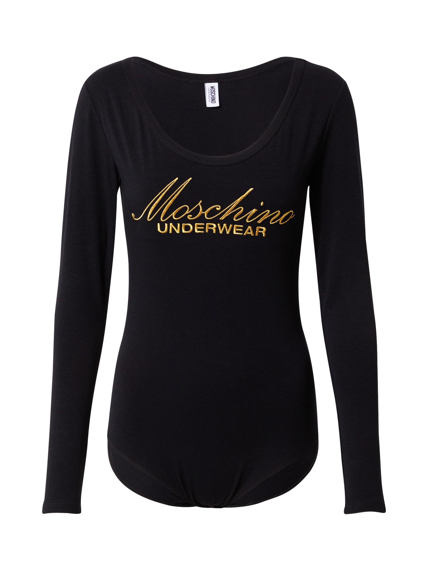 Moschino Underwear Marškinėliai-glaustinukė juoda / auksas